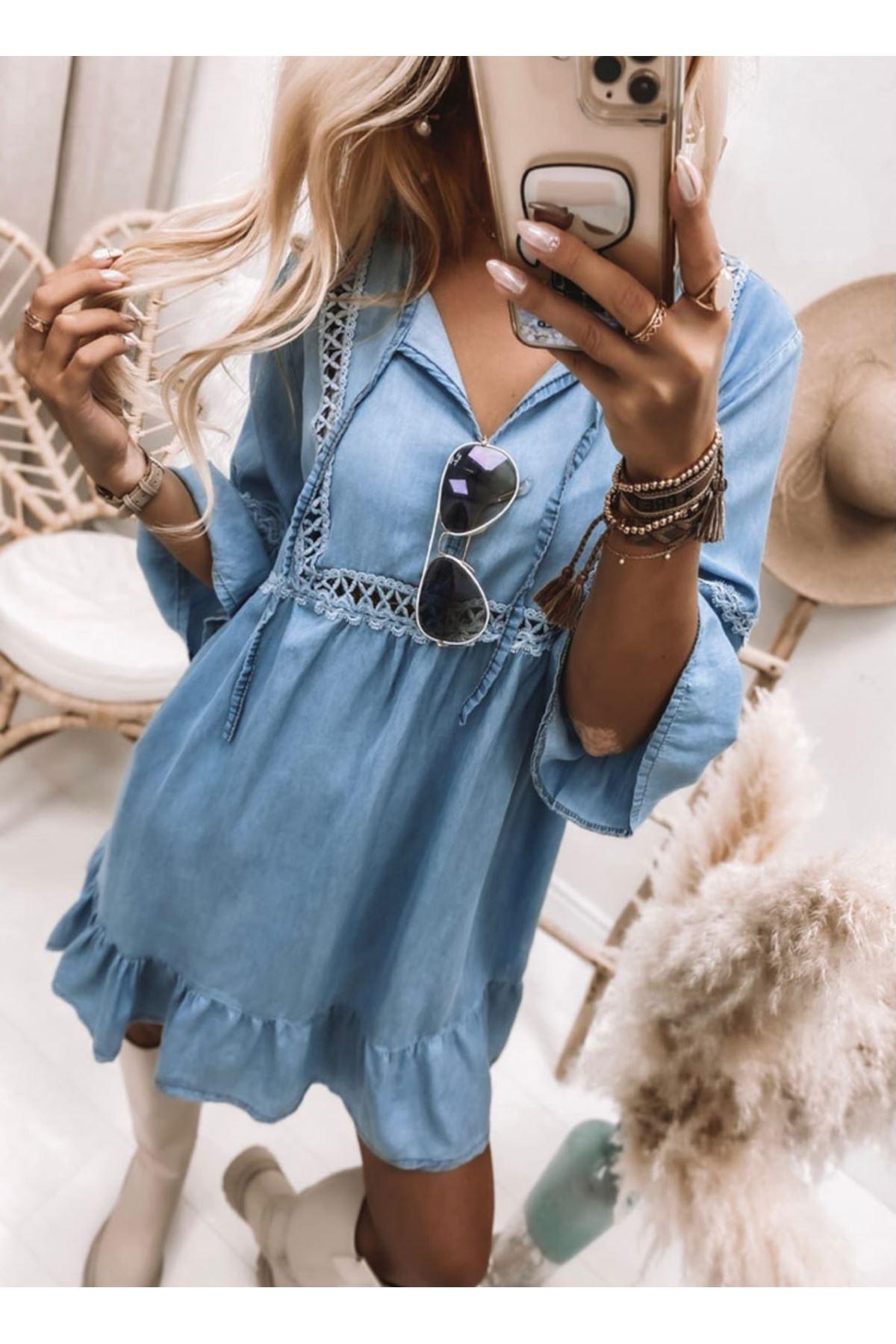 Eteği Volanlı Tensel Kot Elbise - MAVİ