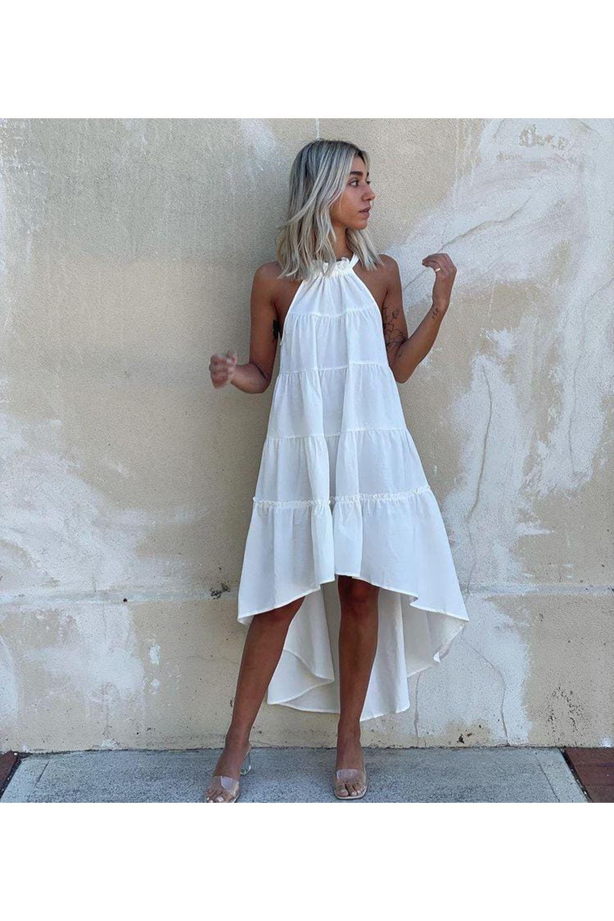 Boyun Askılı Asimetrik Elbise - BEYAZ
