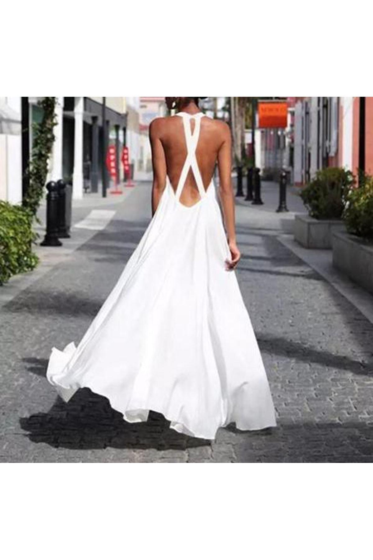 Sırt Çapraz Detaylı Maxi Elbise - BEYAZ