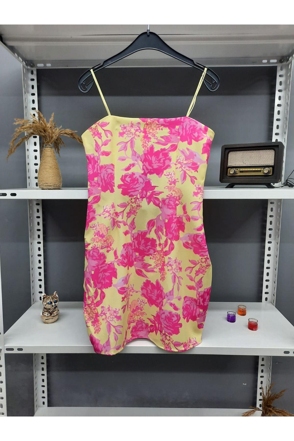 Çiçek Desen Askılı Mini Elbise - SARI