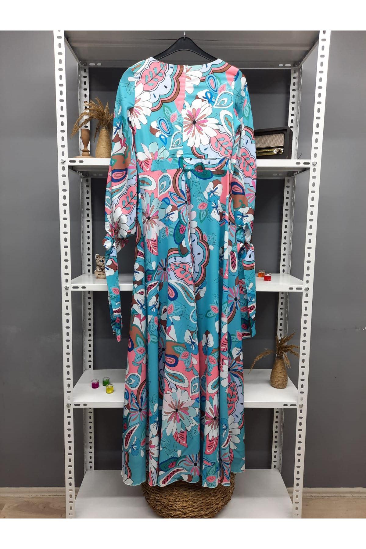 Kruvaze Çiçek Desen Bağlamalı Elbise - MAVİ