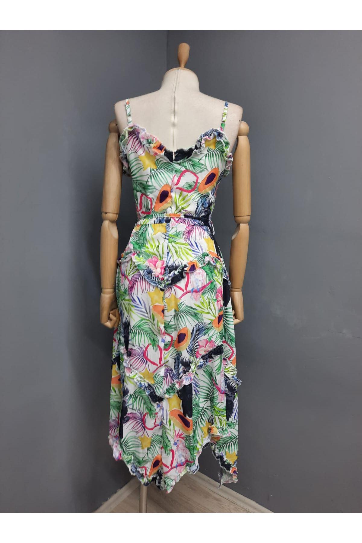 Fırfır Detaylı Askılı İthal Ottom Elbise - MULTİ