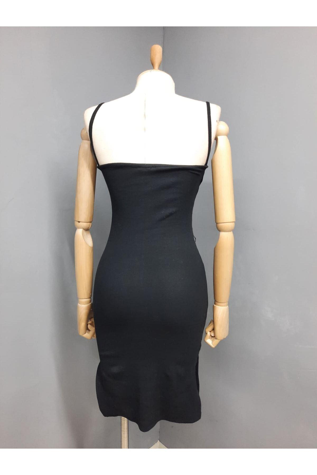 Yaka Detaylı Kaşkorse Elbise - SİYAH