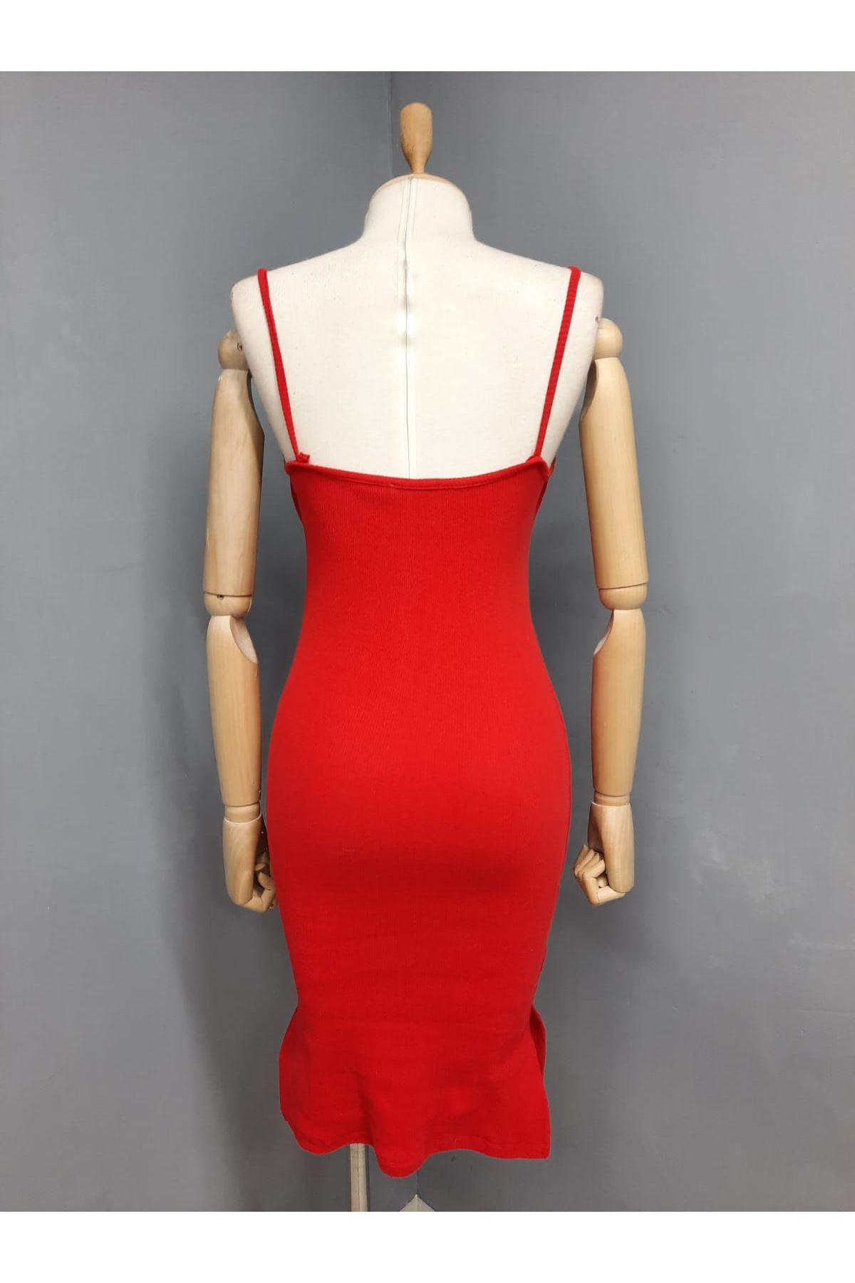 Yaka Detaylı Kaşkorse Elbise - KIRMIZI