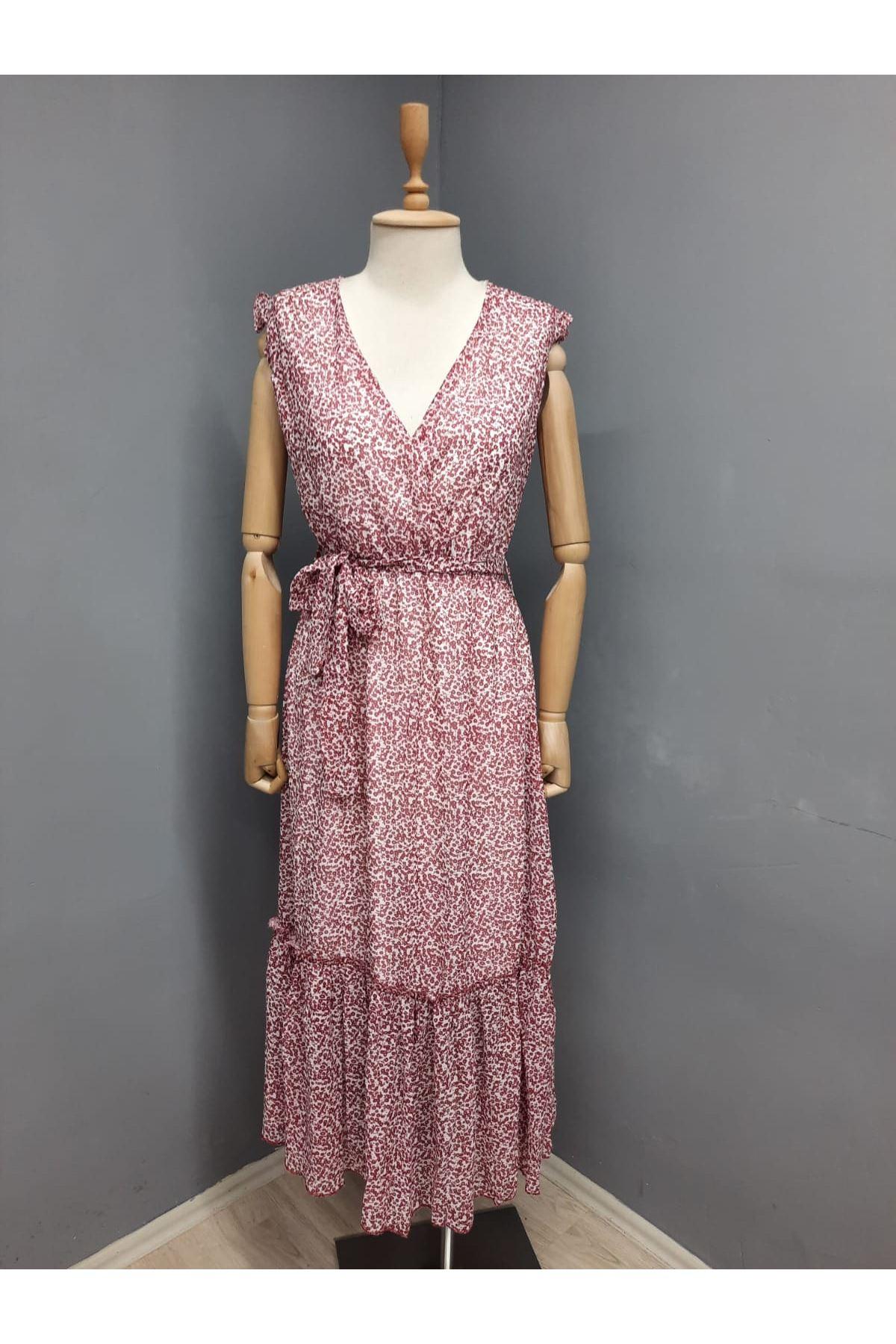 Çıtır Desenli Astarlı Şifon Elbise - KIRMIZI