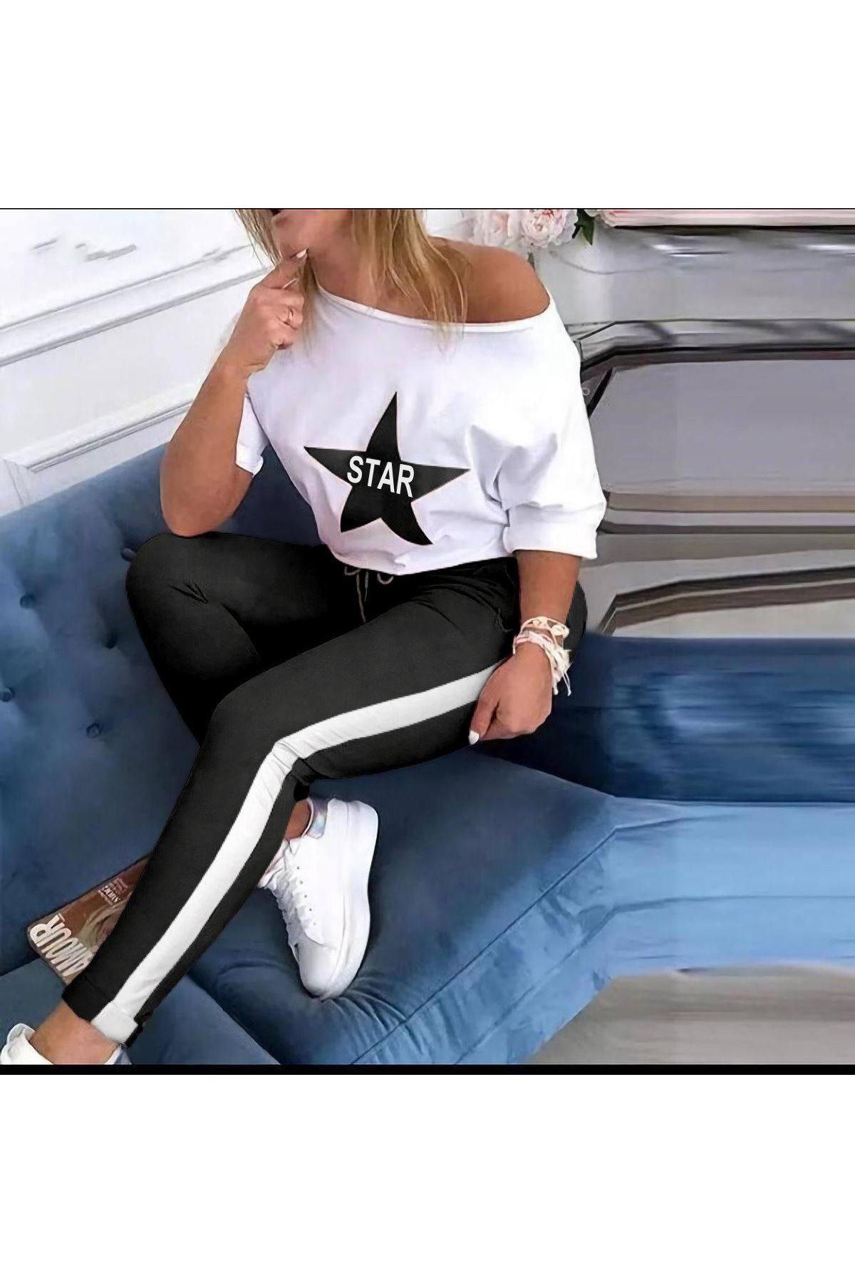STAR Baskılı Şerit Detaylı Takım - SİYAH