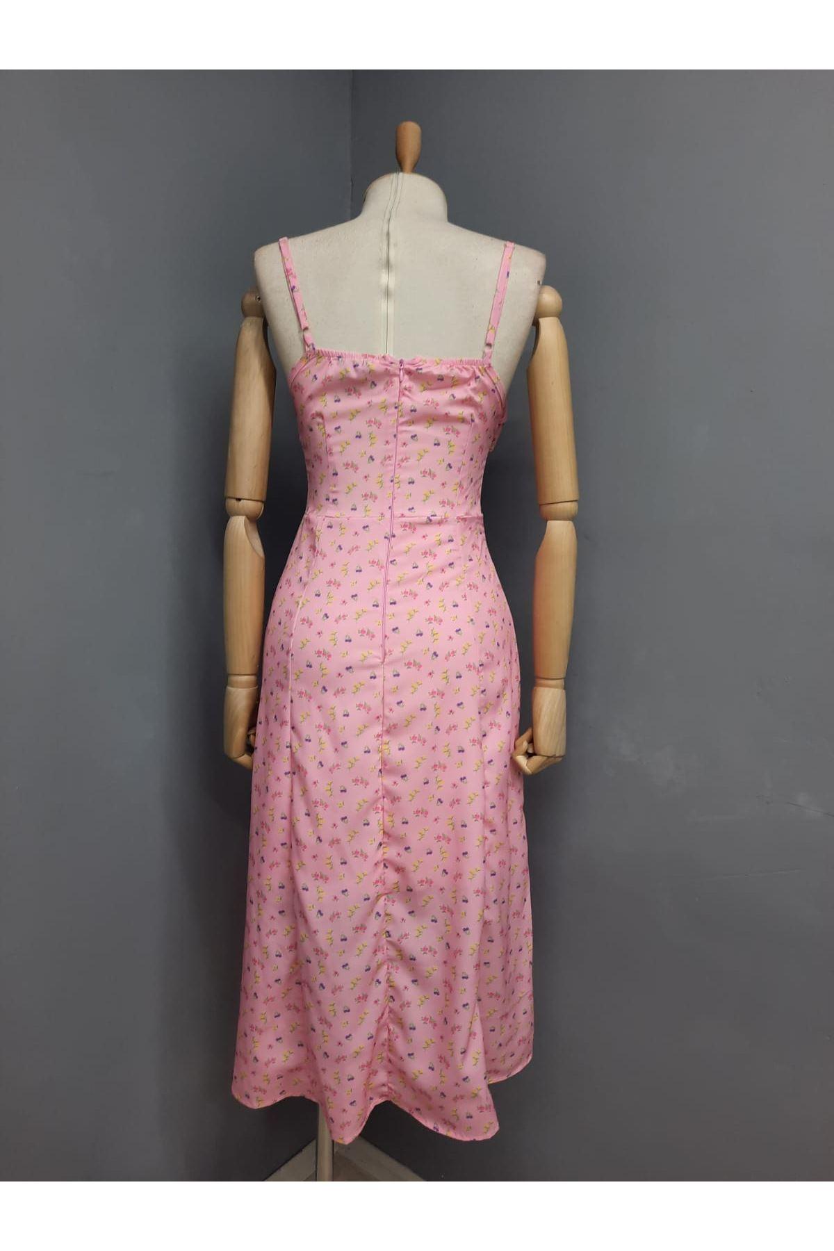Yırtmaç Detaylı Askılı Elbise - PUDRA