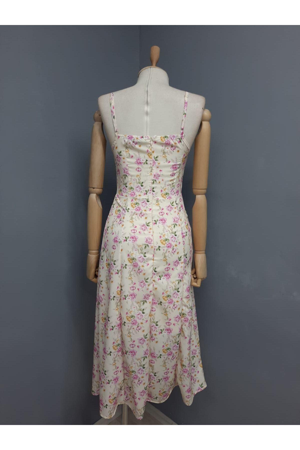 Yırtmaç Detaylı Askılı Elbise - SARI