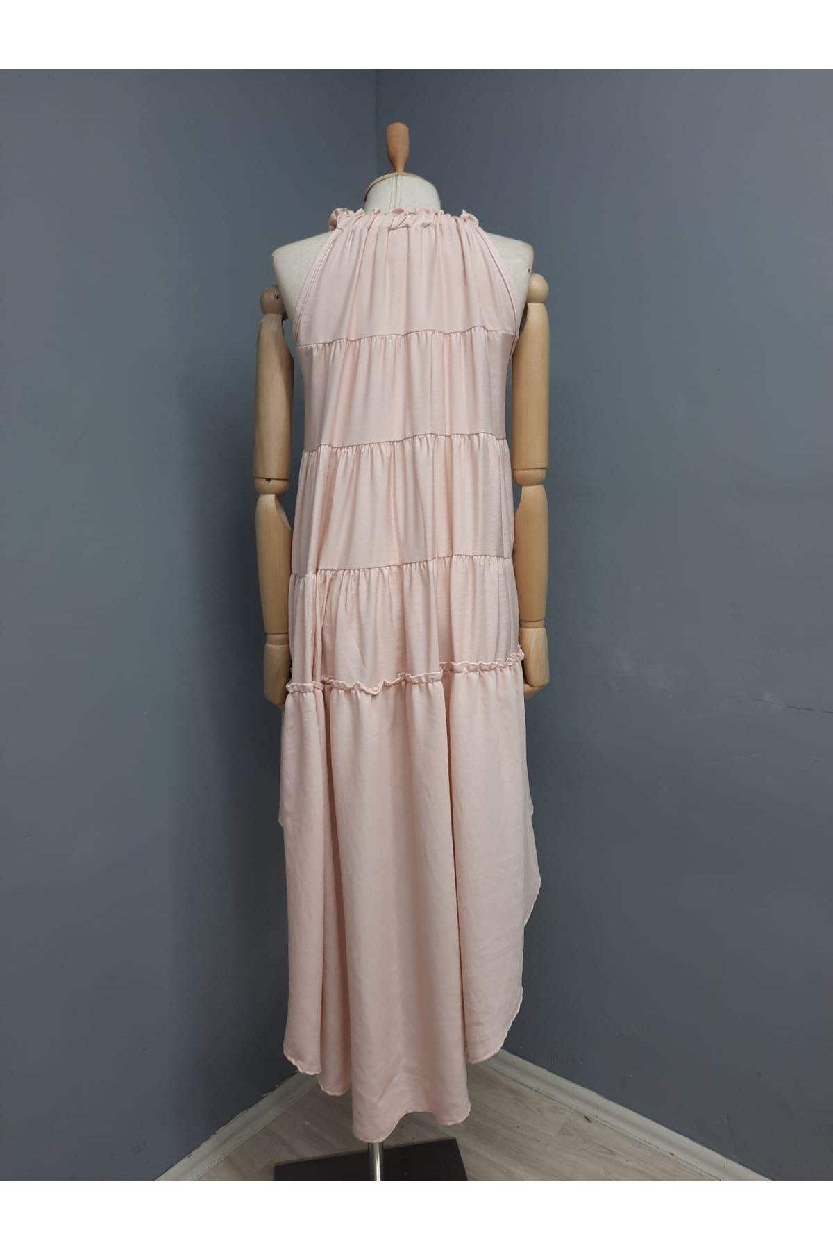 Boyun Askılı Asimetrik Elbise - PUDRA