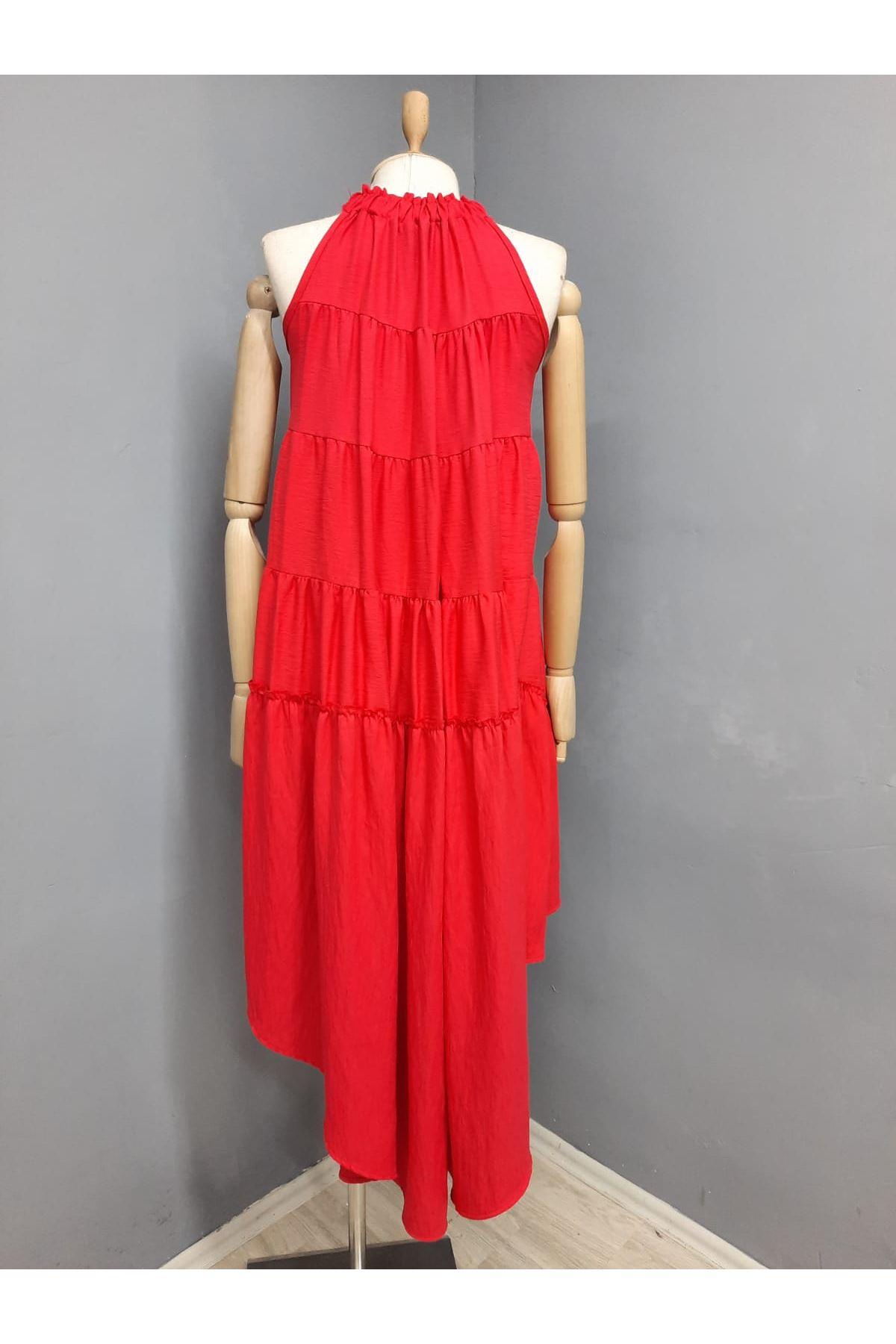 Boyun Askılı Asimetrik Elbise - KIRMIZI
