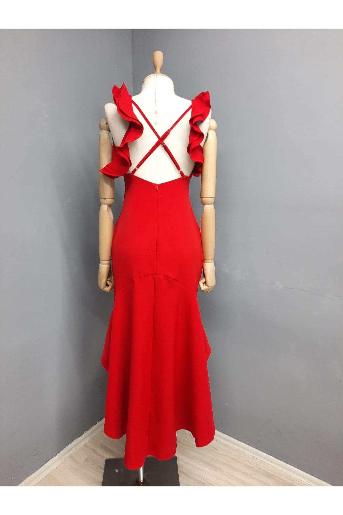 Yaka Volan Detaylı Sırt Çaprazlı Elbise - BORDO