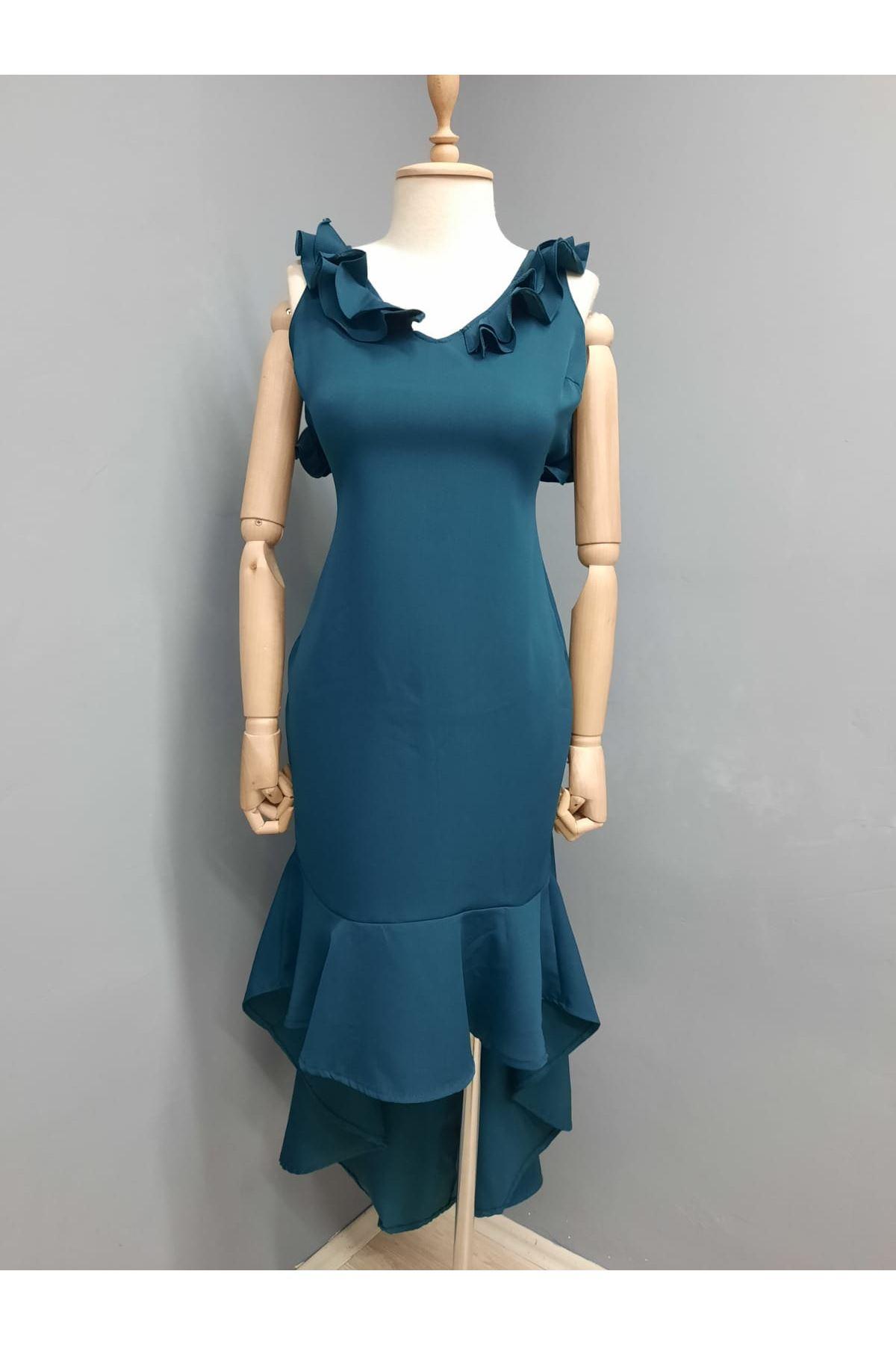 Yaka Volan Detaylı Sırt Çaprazlı Elbise - HAKİ