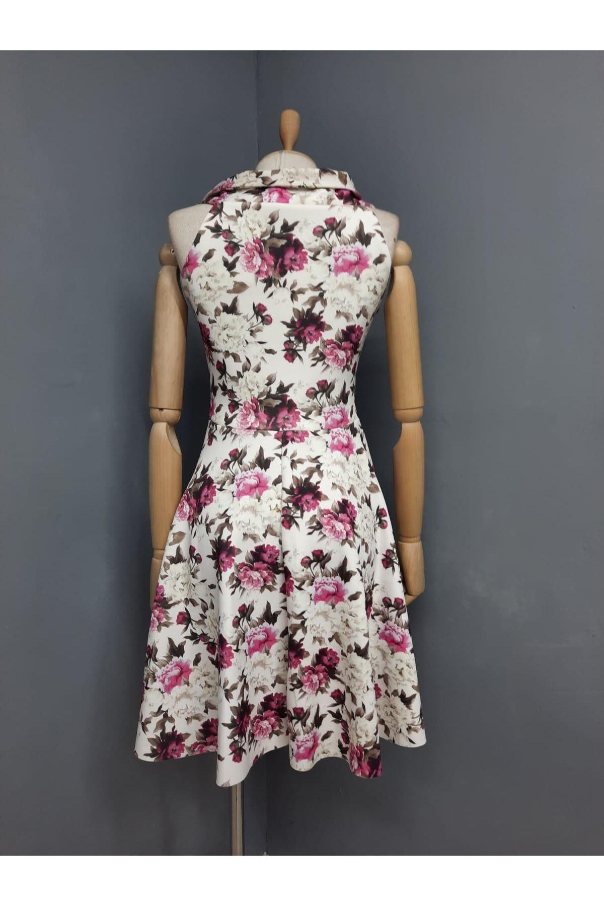 Çiçek Desen Yaka Detaylı Dalgıç Elbise - MULTİ