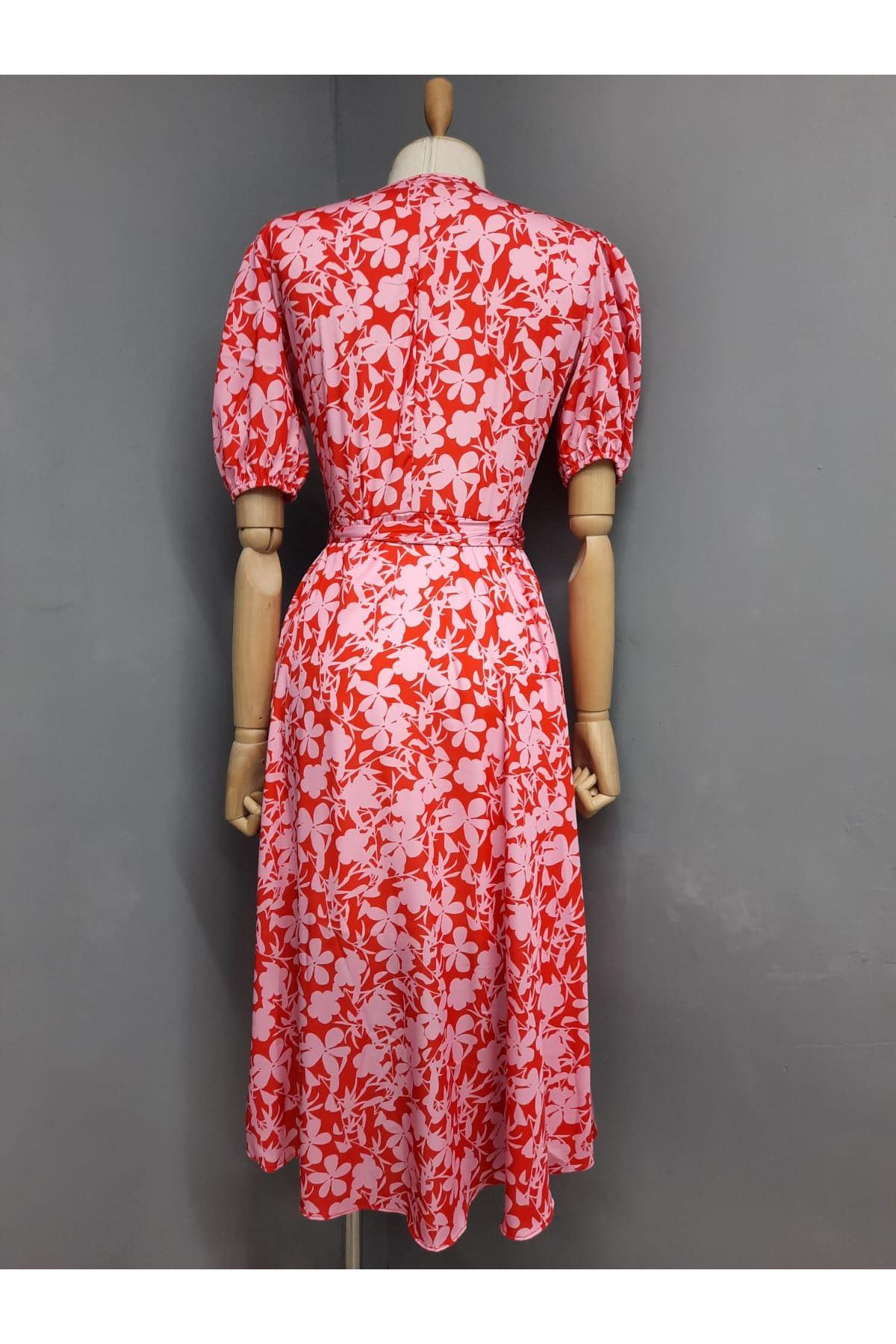 V Yaka Asimetrik Elbise - PEMBE
