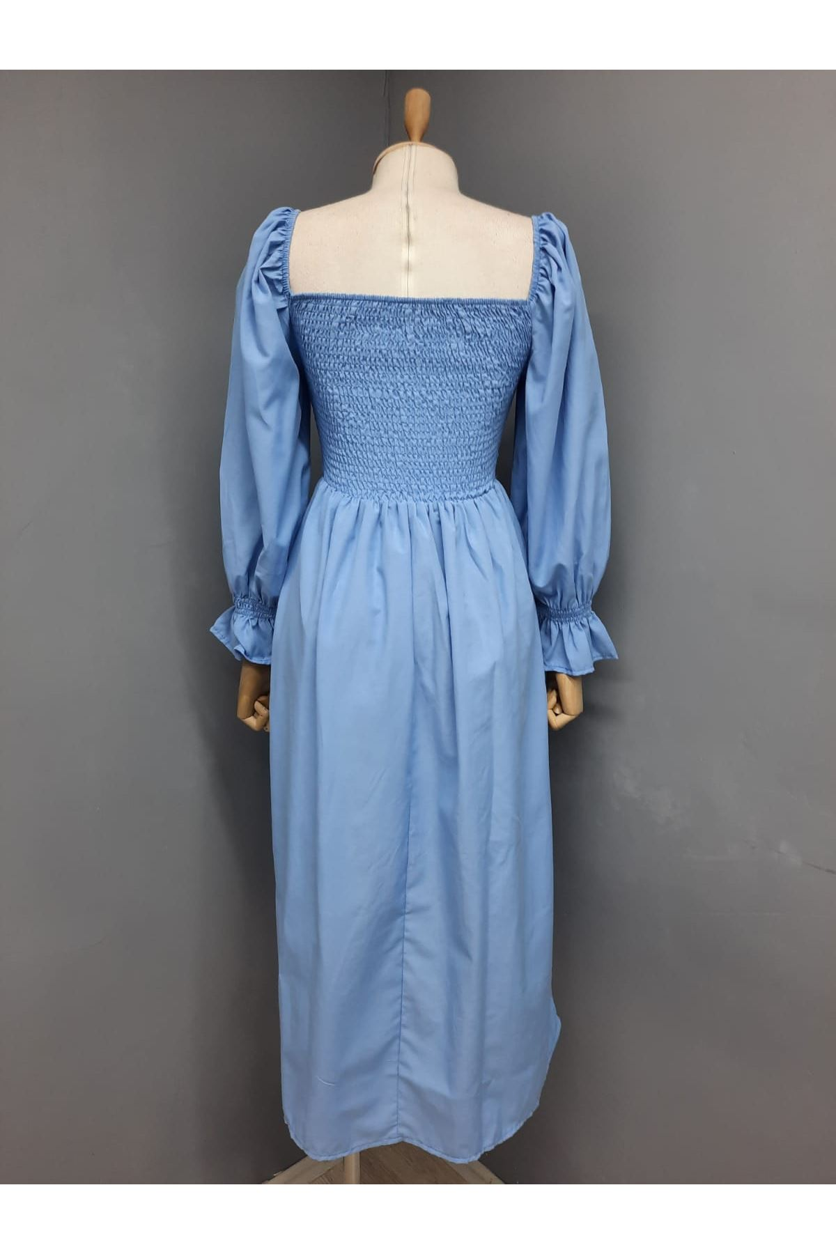 U yaka Prenses Omuz Gipeli Elbise - MAVİ