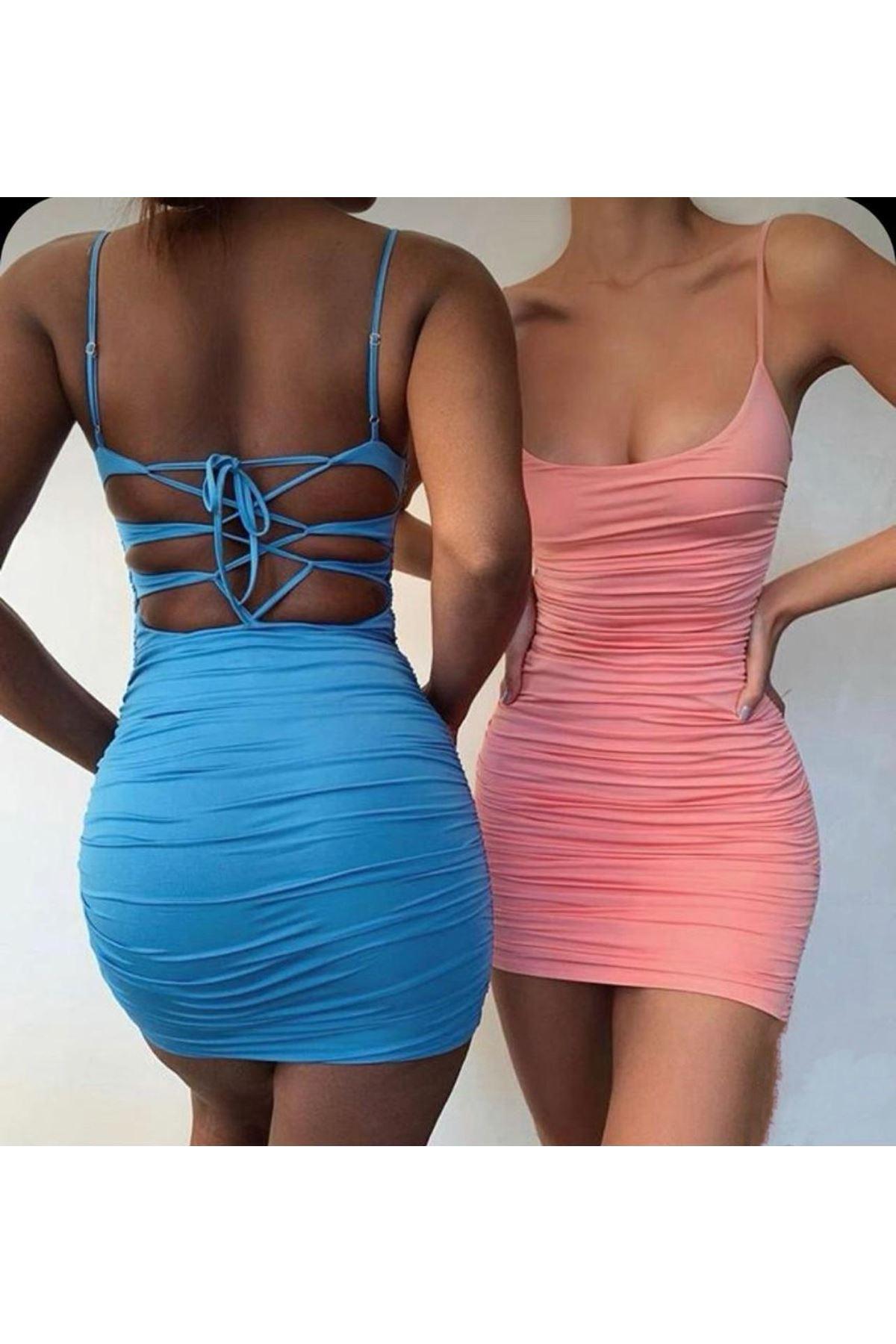 Sırt Çapraz Detaylı Askılı Elbise - MAVİ