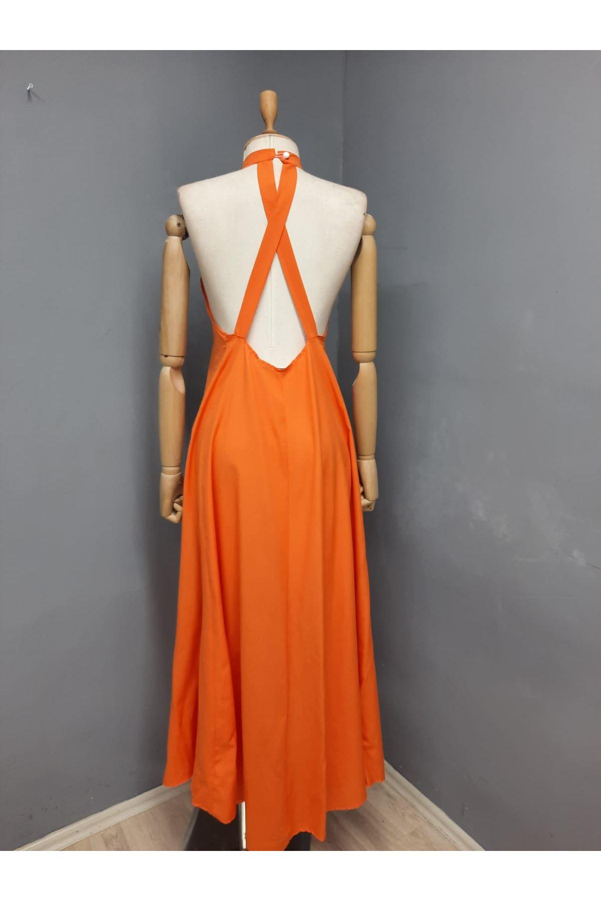 Sırt Çapraz Detaylı Maxi Elbise - TURUNCU