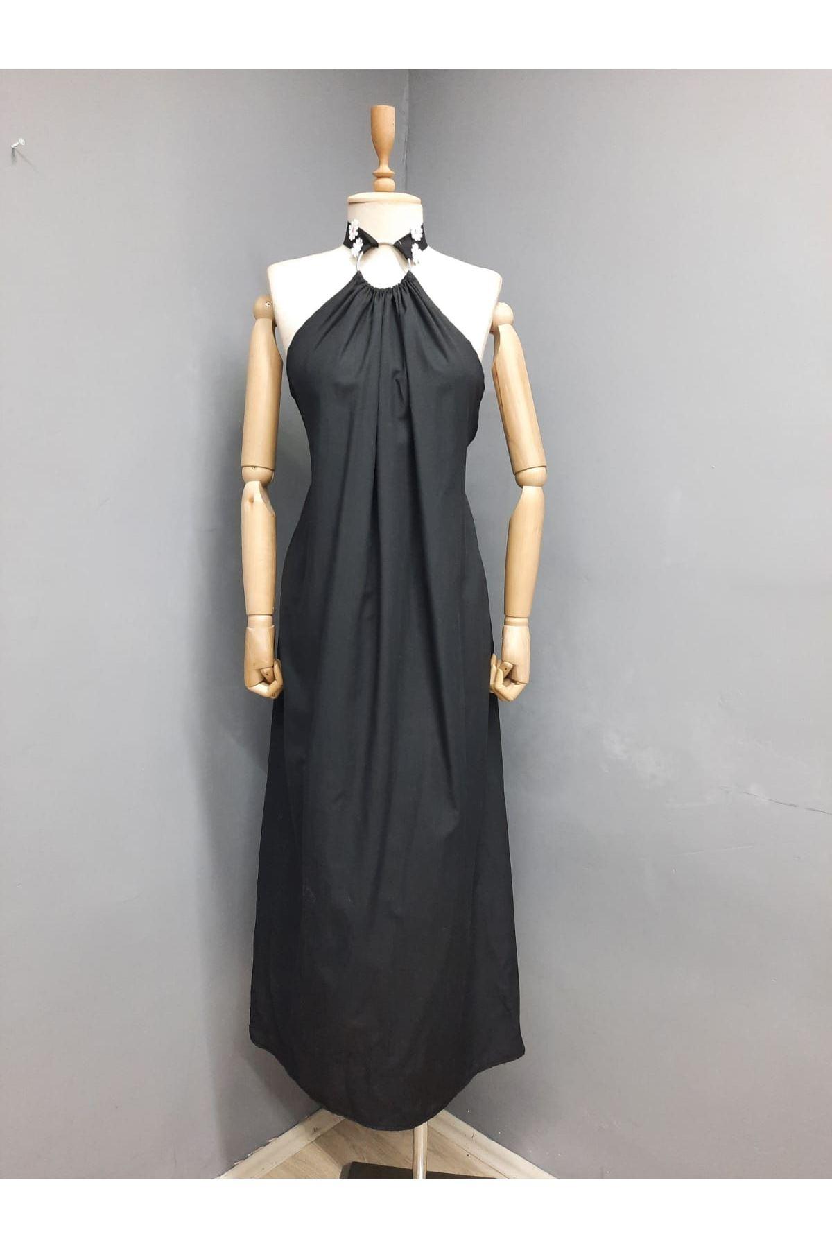Sırt Çapraz Detaylı Maxi Elbise - SİYAH