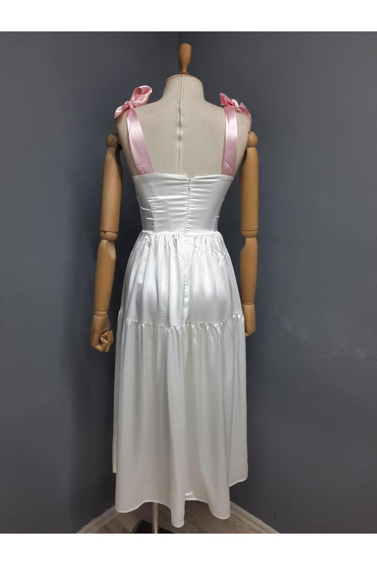 Omuz Bağlamalı Garnili Elbise - BEYAZ