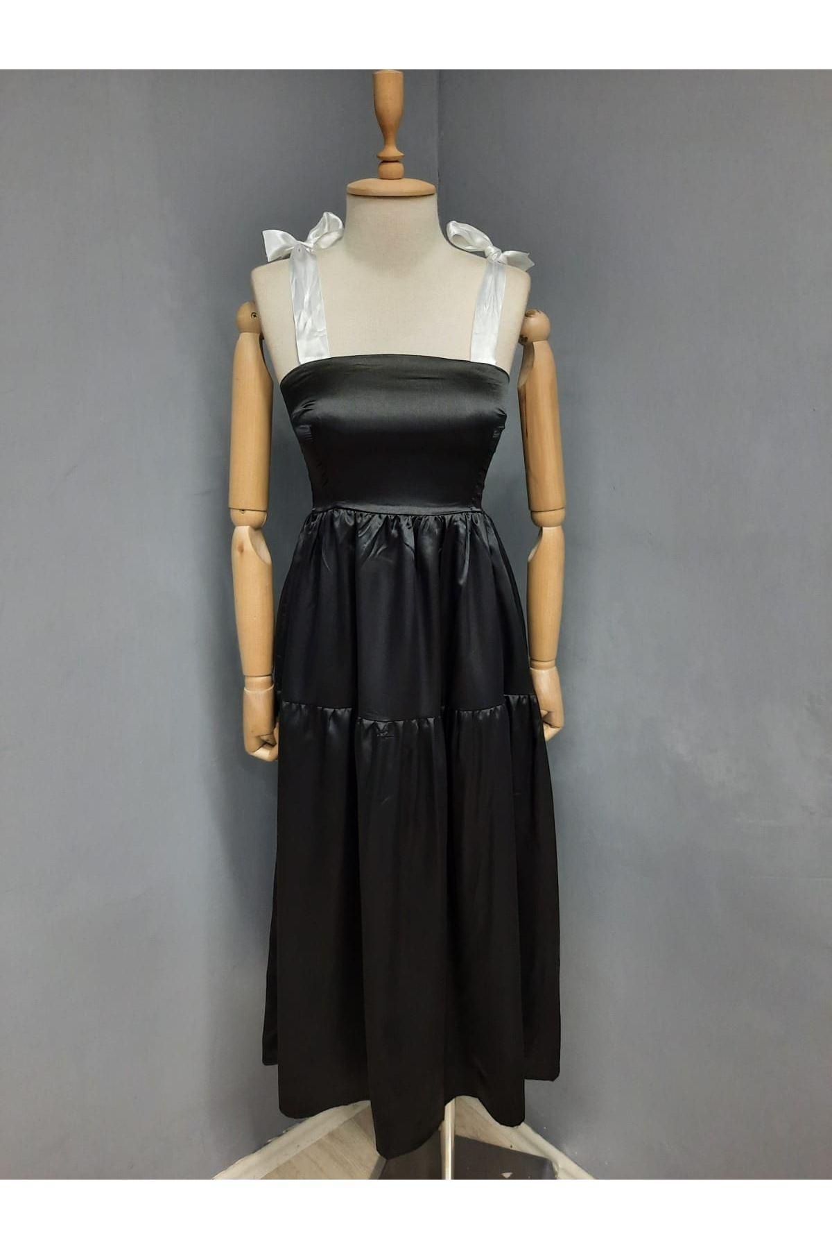 Omuz Bağlamalı Garnili Elbise - SİYAH