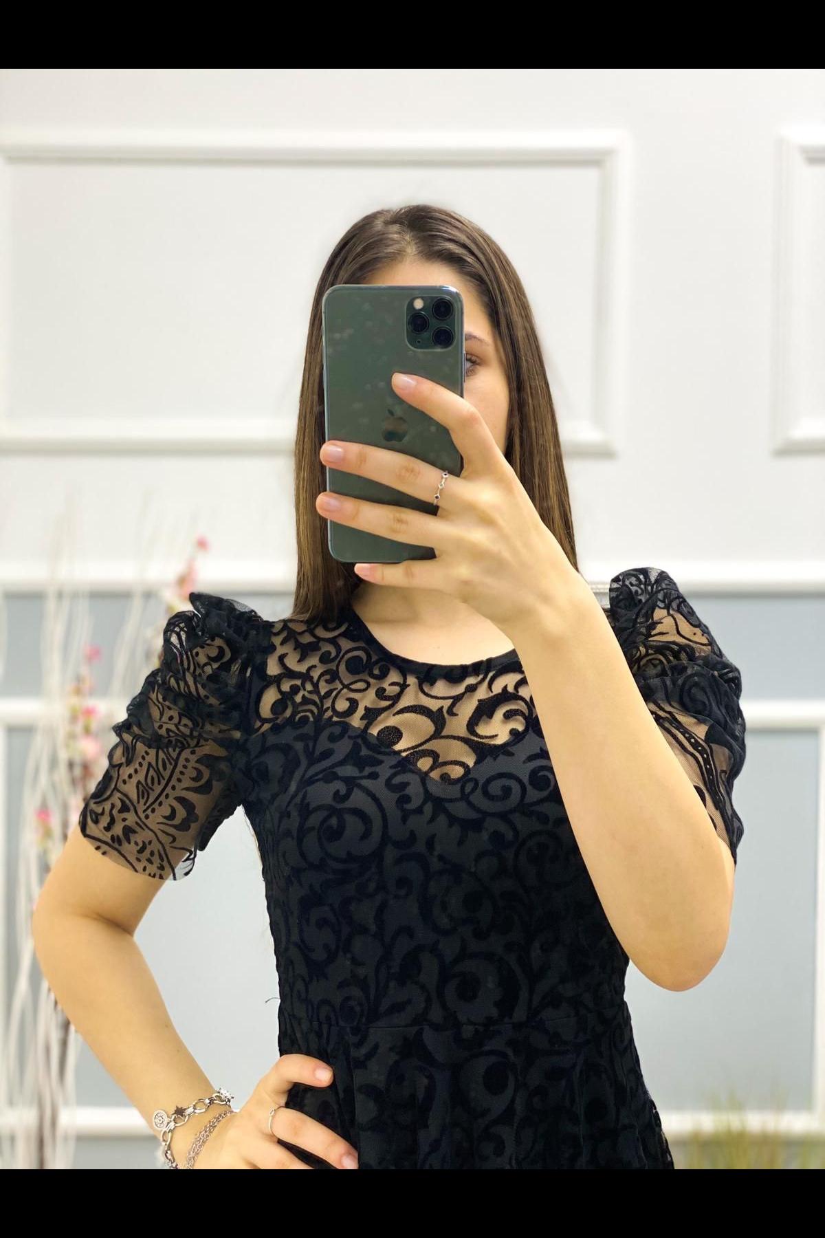 Kısa Kol Flok Midiboy Elbise - SİYAH