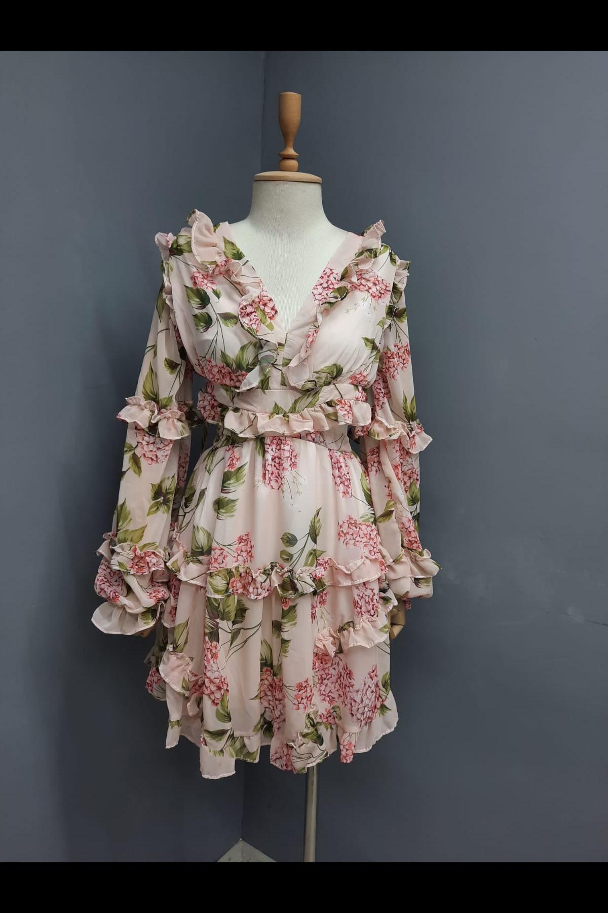 Çiçek Desen Sırt Dekolteli Elbise - PUDRA