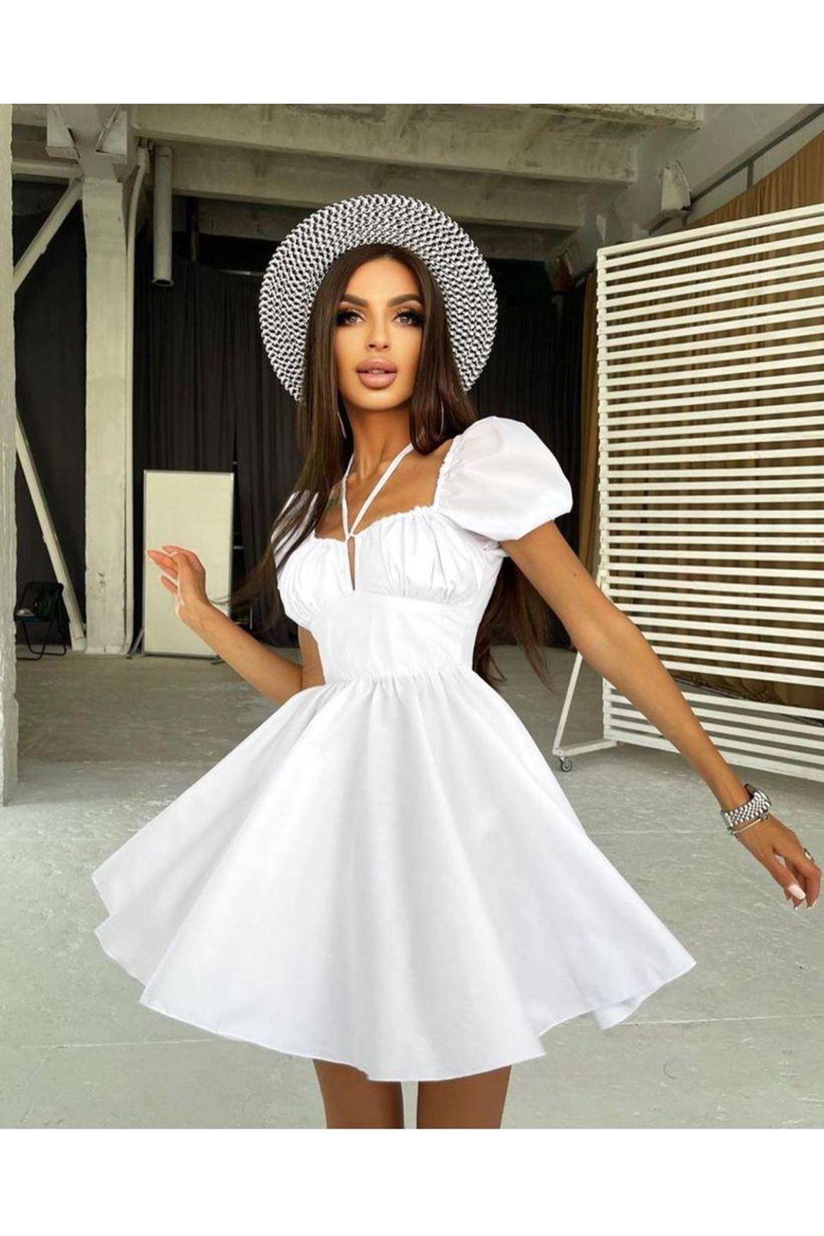 Büzgü Detaylı Kiloş Elbise - BEYAZ