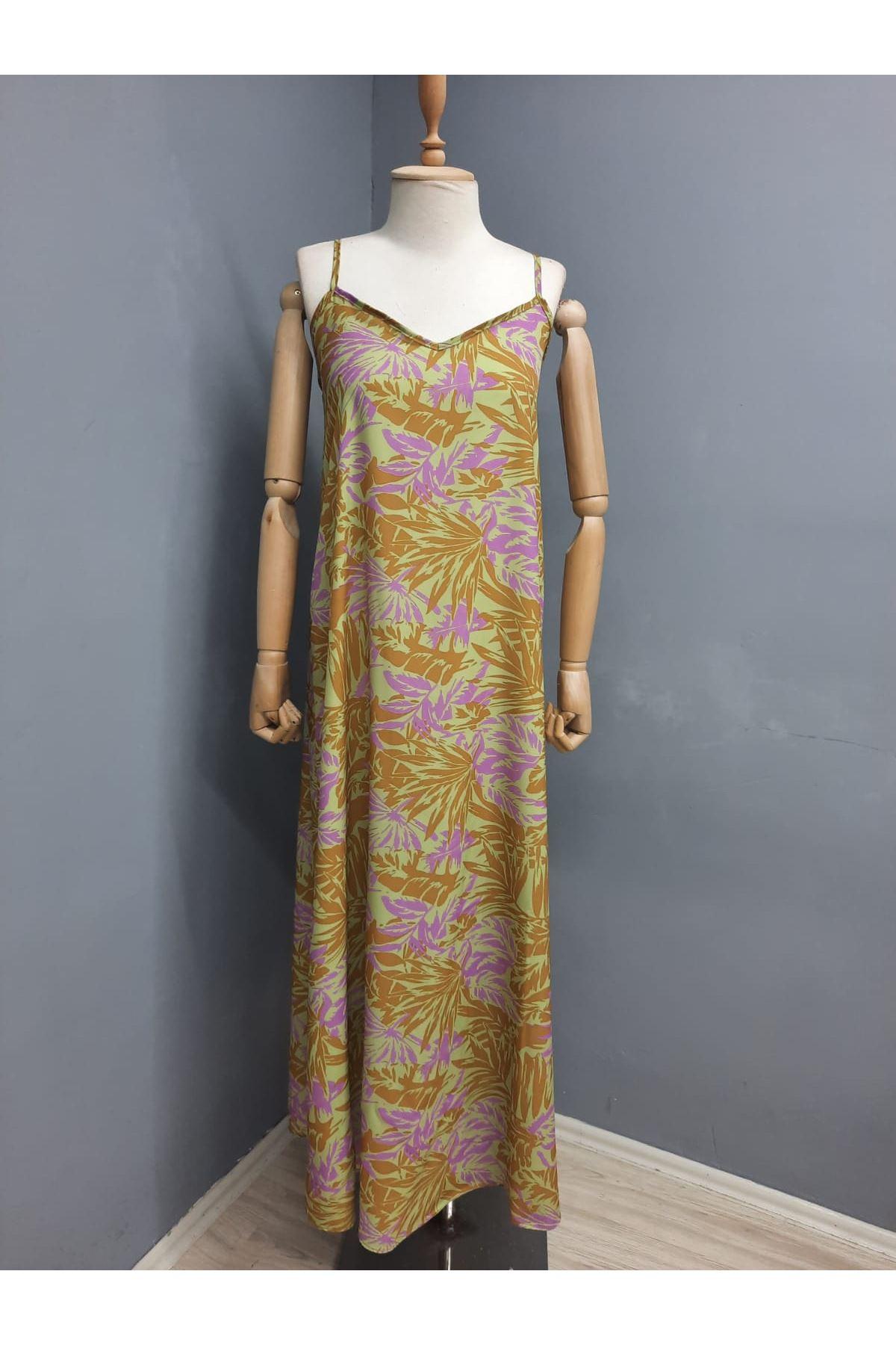 Askılı Rahat Elbise - YEŞİL