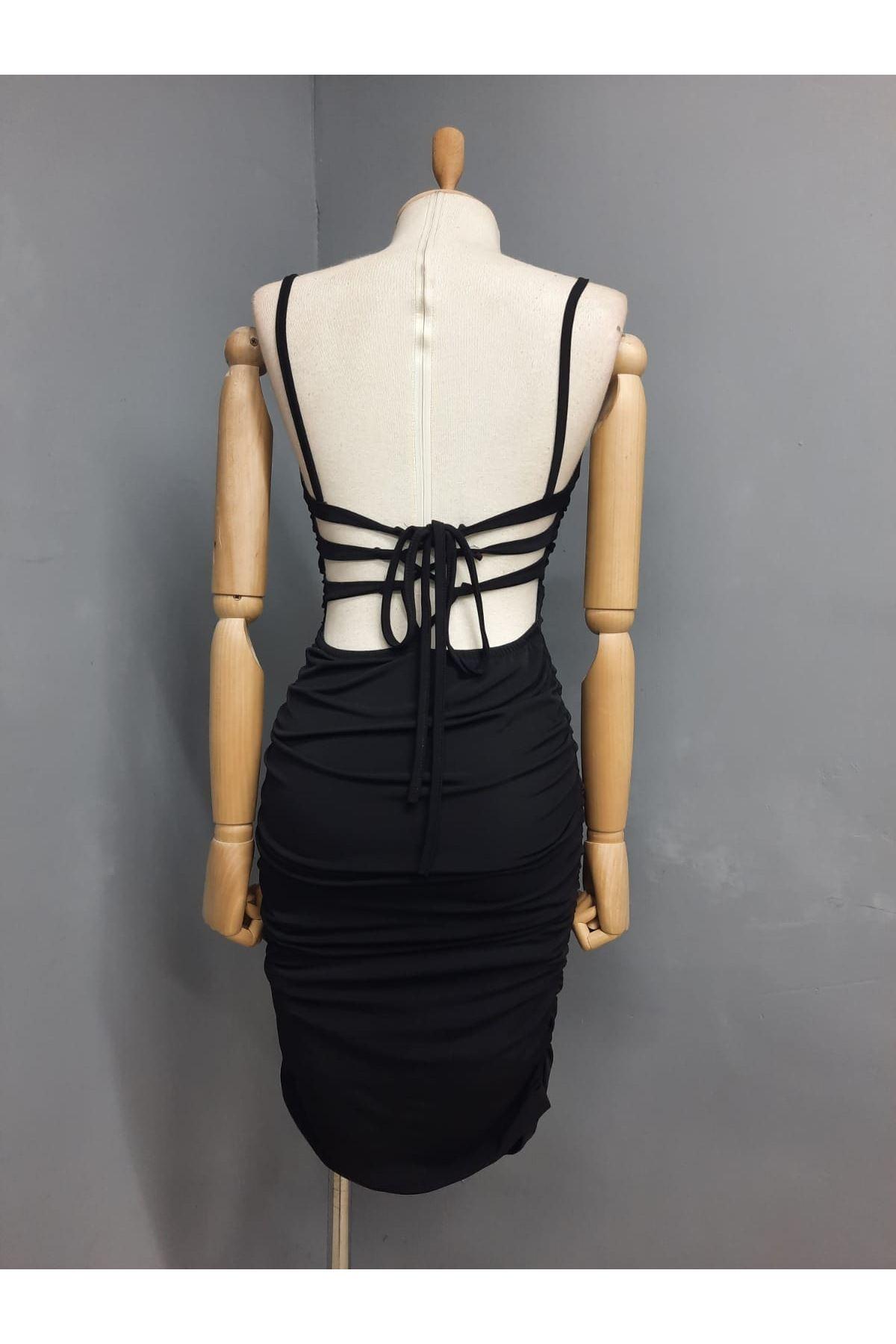 Sırt Çapraz Detaylı Askılı Elbise - SİYAH