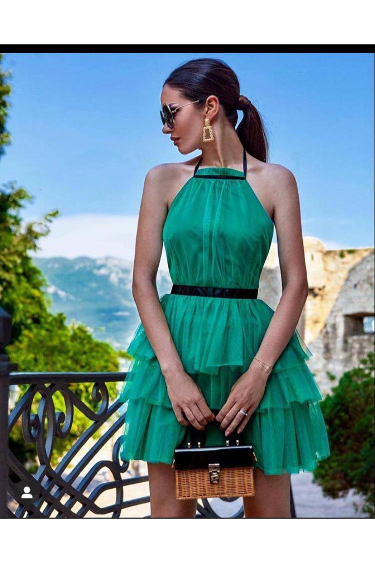 Eteği Kat Kat Mini Elbise - YEŞİL