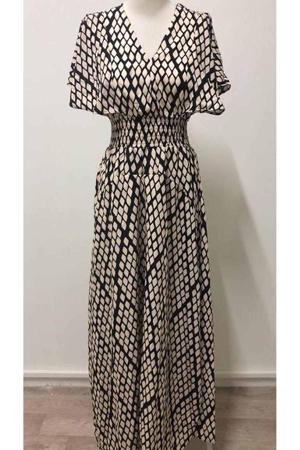 Yılan Desenli V Yaka Elbise - YILAN