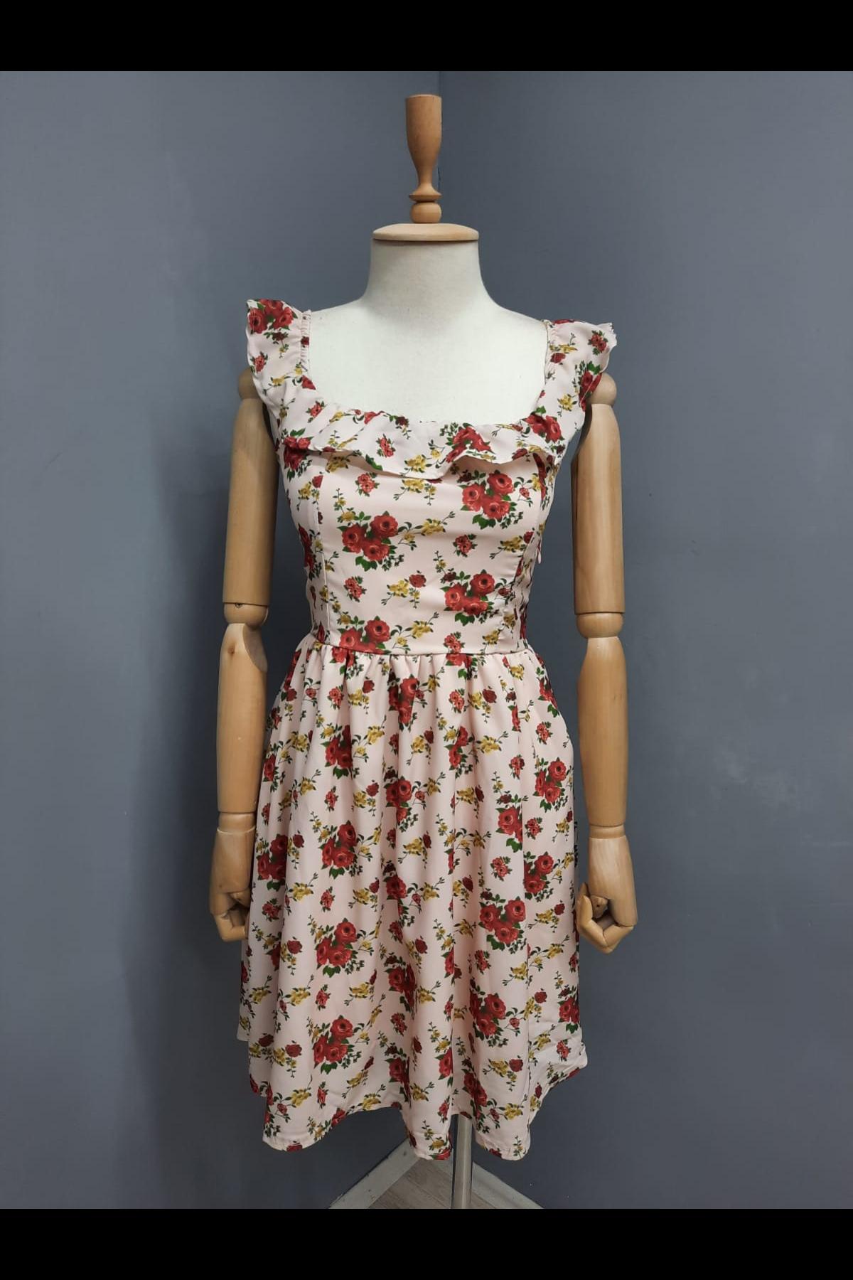 Dijital Baskılı Volan Detaylı Astarlı Elbise - EKRU
