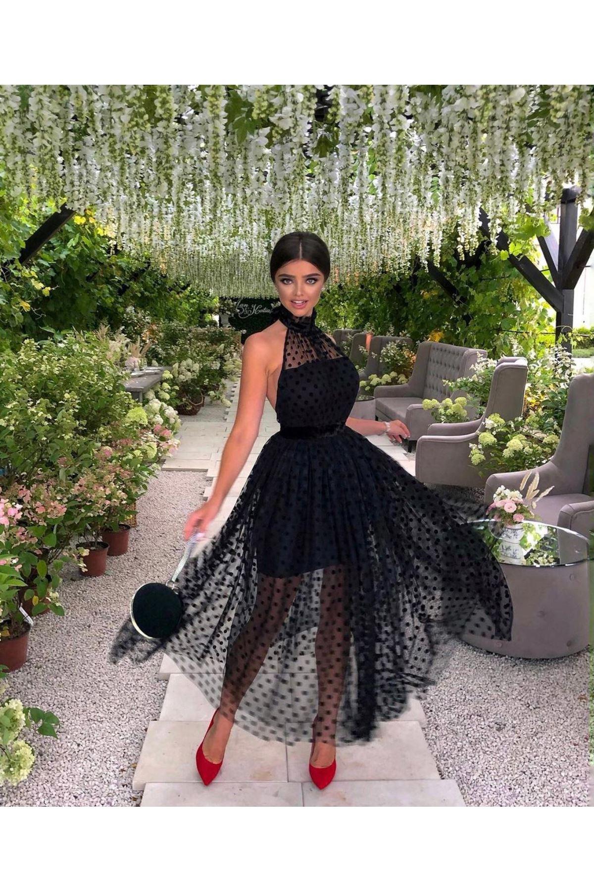 Puan Desenli Sırtı Açık Astarlı Elbise - SİYAH