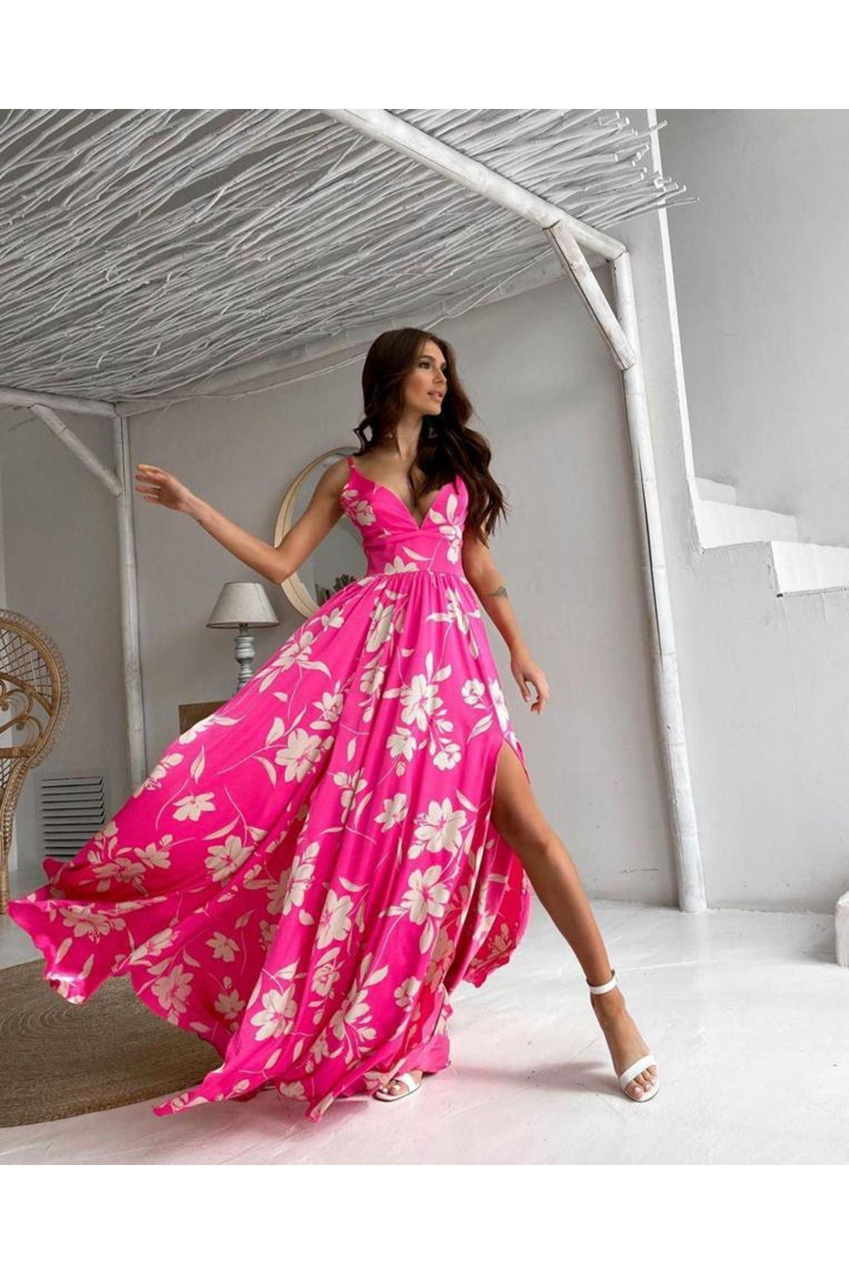Yırtmaç Detaylı Desenli Elbise - FUŞYA