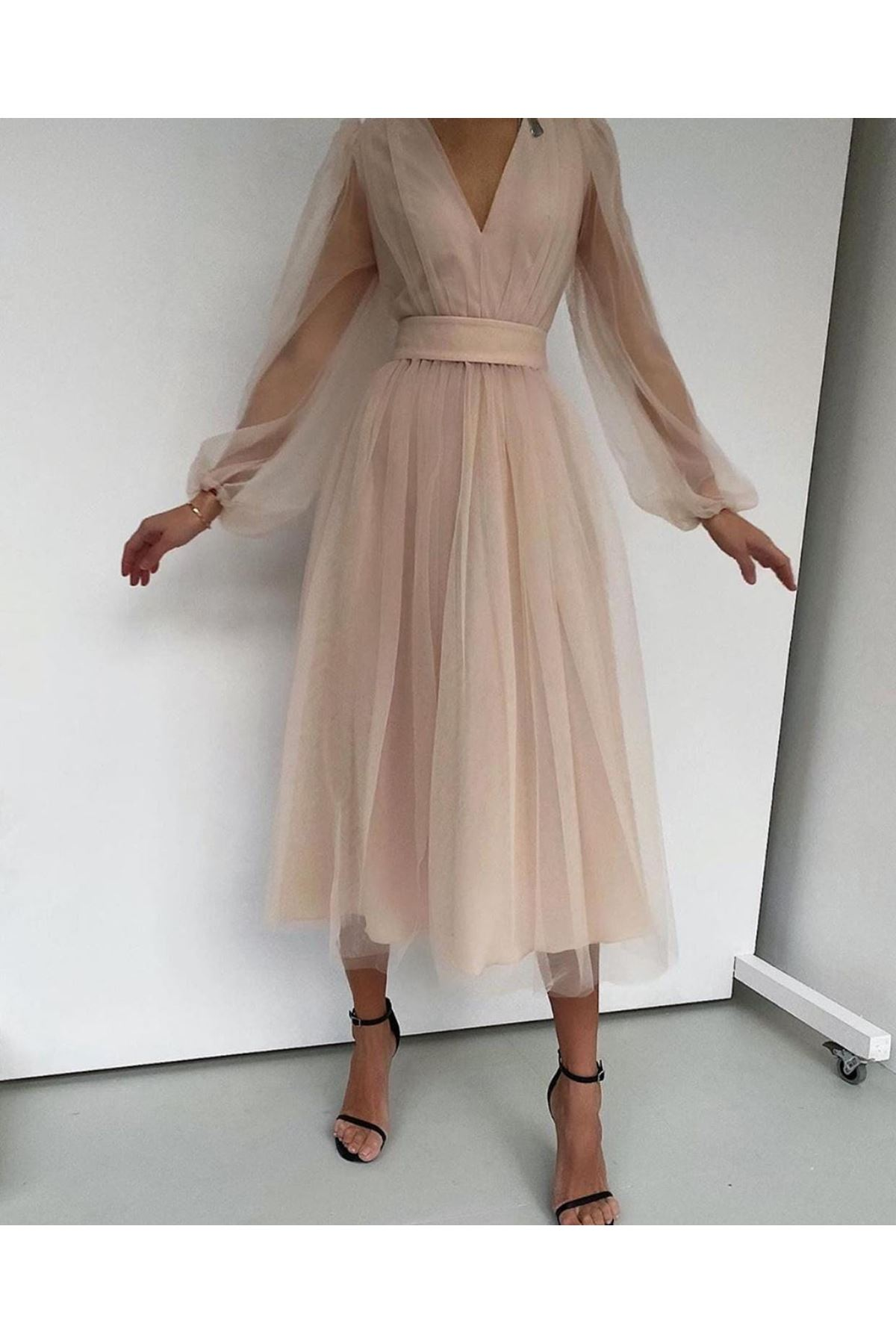 V Yaka Tül Midiboy Elbise - BEJ