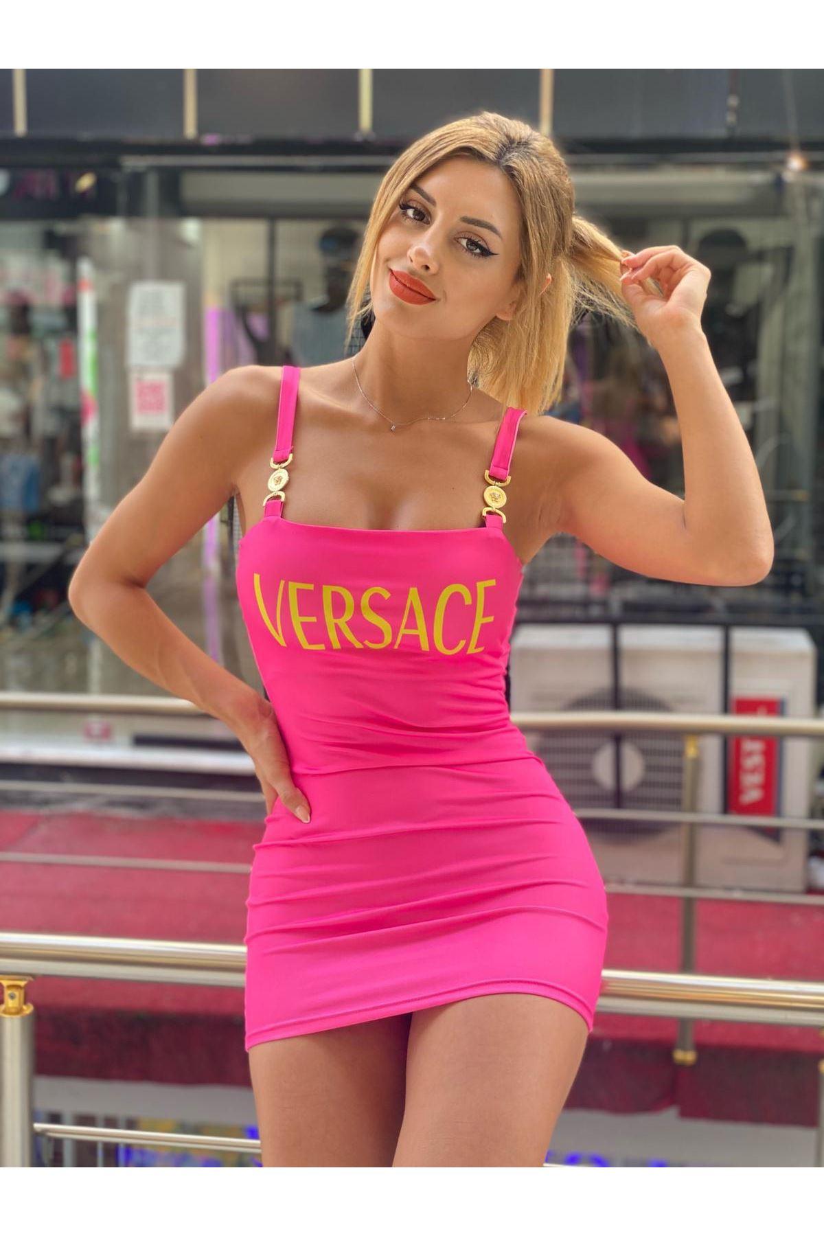 VS Model Askılı Elbise - FUŞYA