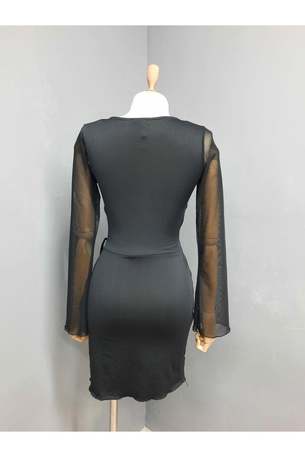 Çapraz Detaylı Elbise - SİYAH