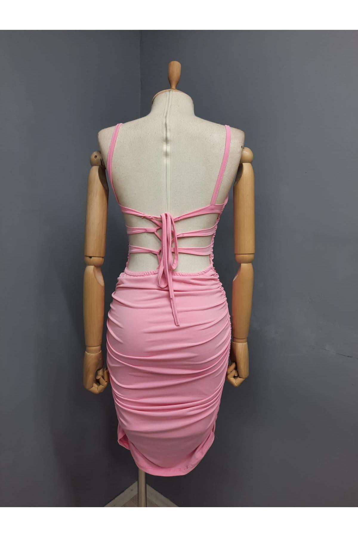 Sırt Çapraz Detaylı Askılı Elbise - PUDRA