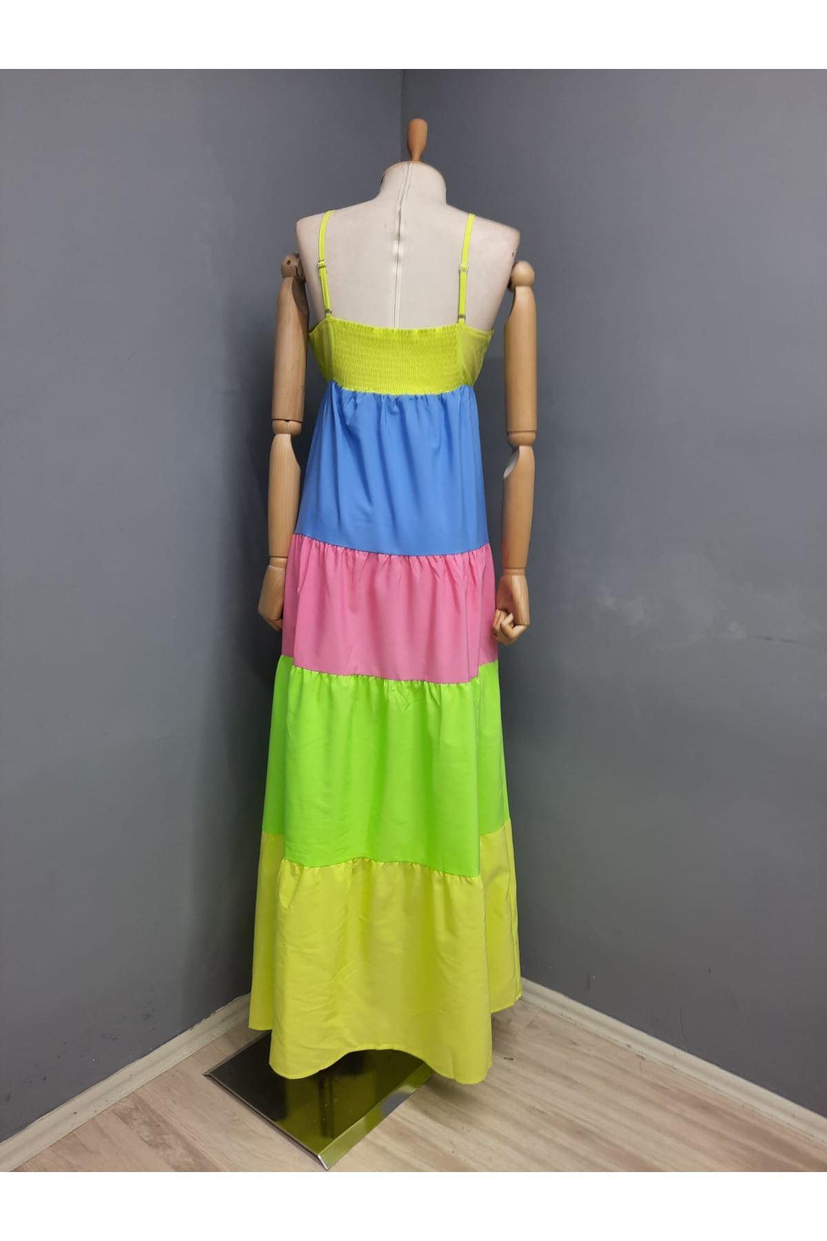 Askılı Renk Detaylı Poplin Elbise - MULTİ