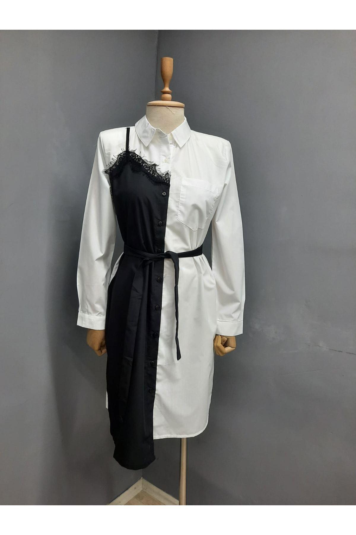 Dantel Detaylı Poplin Gömlek Elbise - BEYAZ