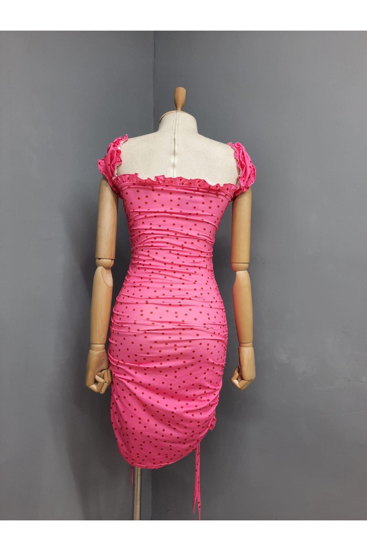 U Yaka Büzgü Detaylı Elbise  - PEMBE