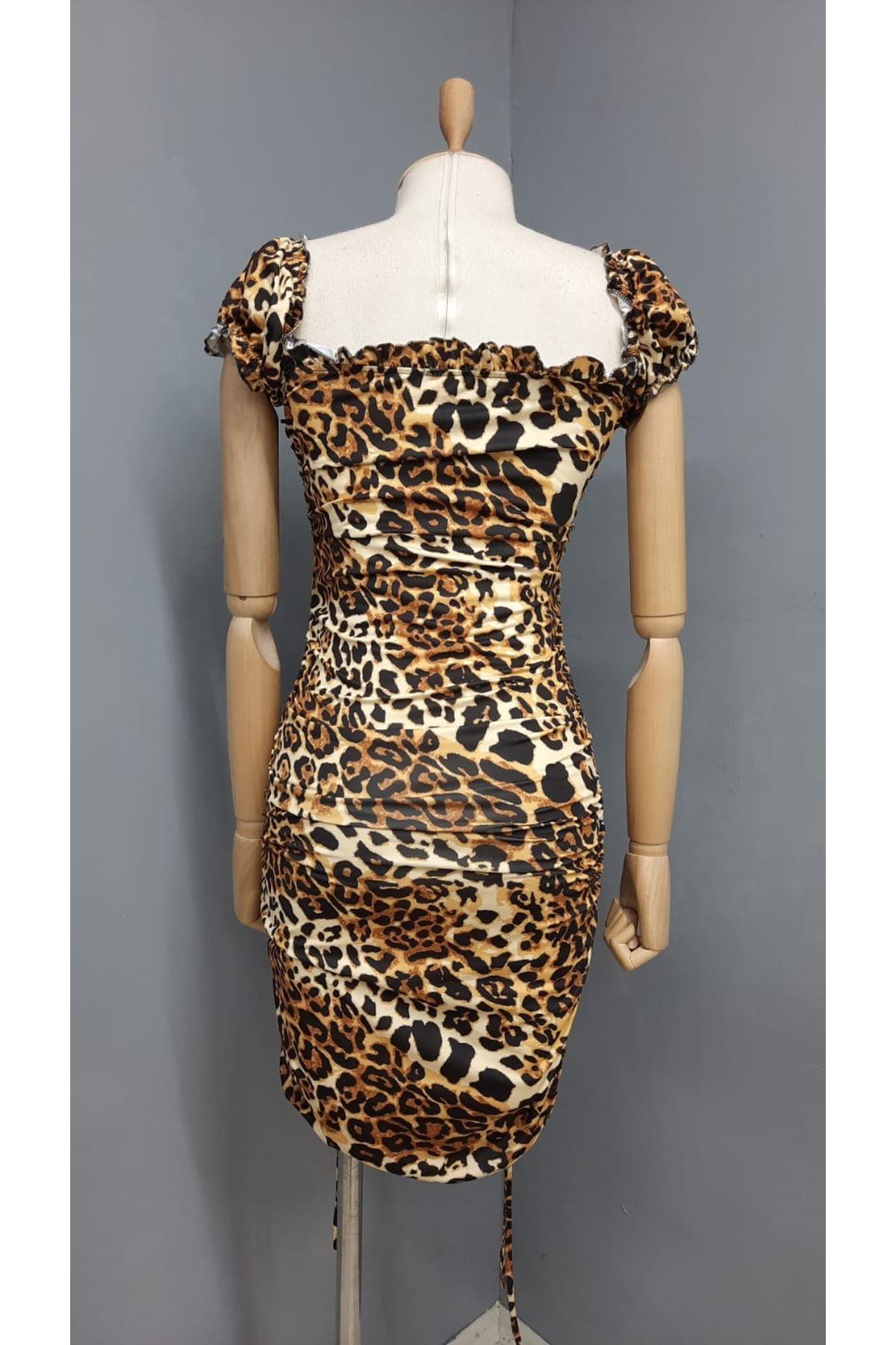 Leopar Desen Büzgü Detaylı Elbise - LEOPAR