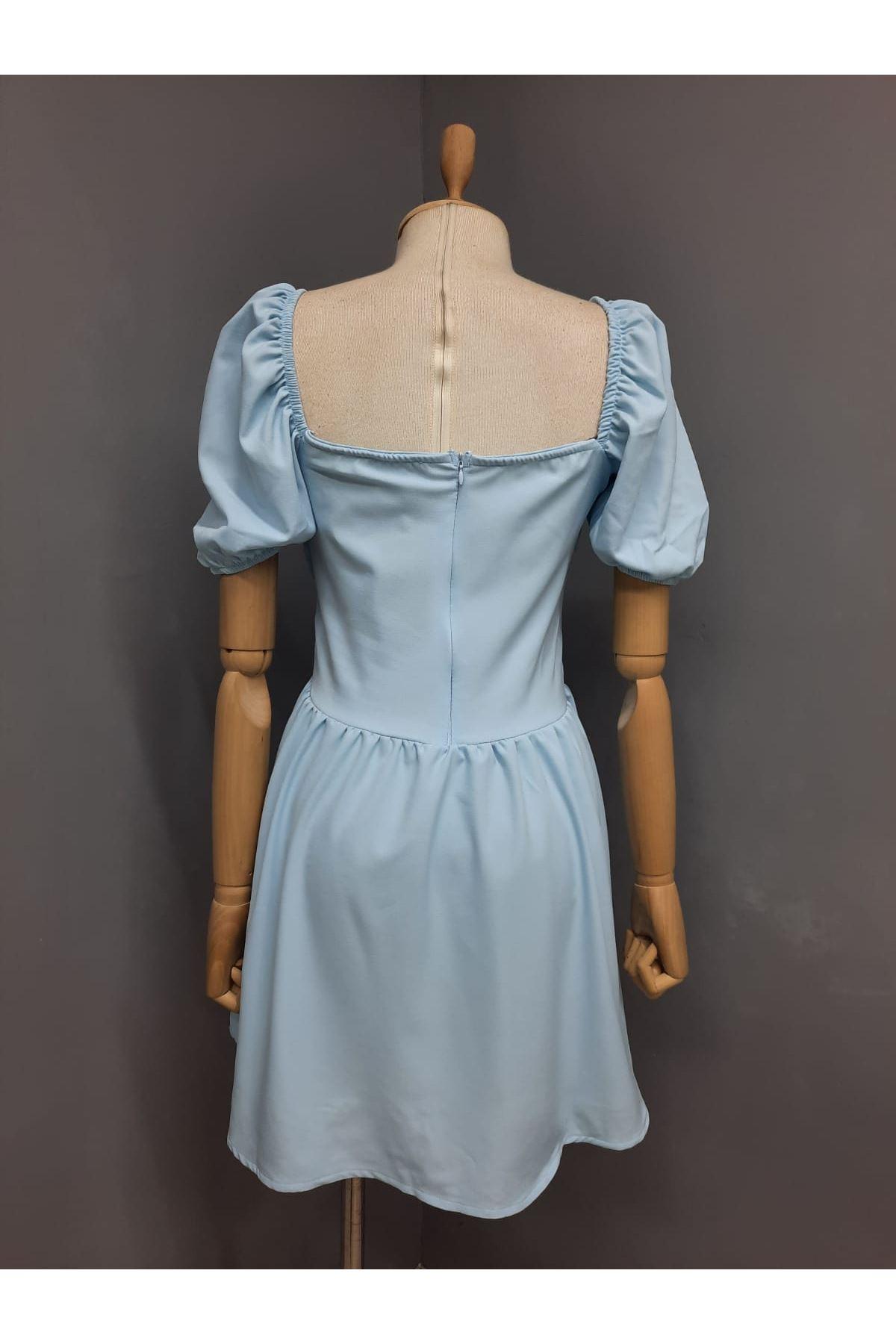 Büzgü Detaylı Kiloş Elbise - MAVİ