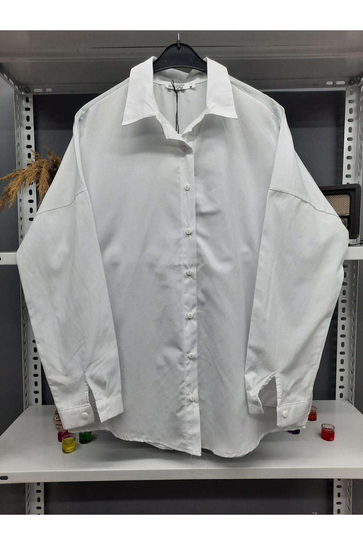 Uzun Poplin Gömlek - BEYAZ