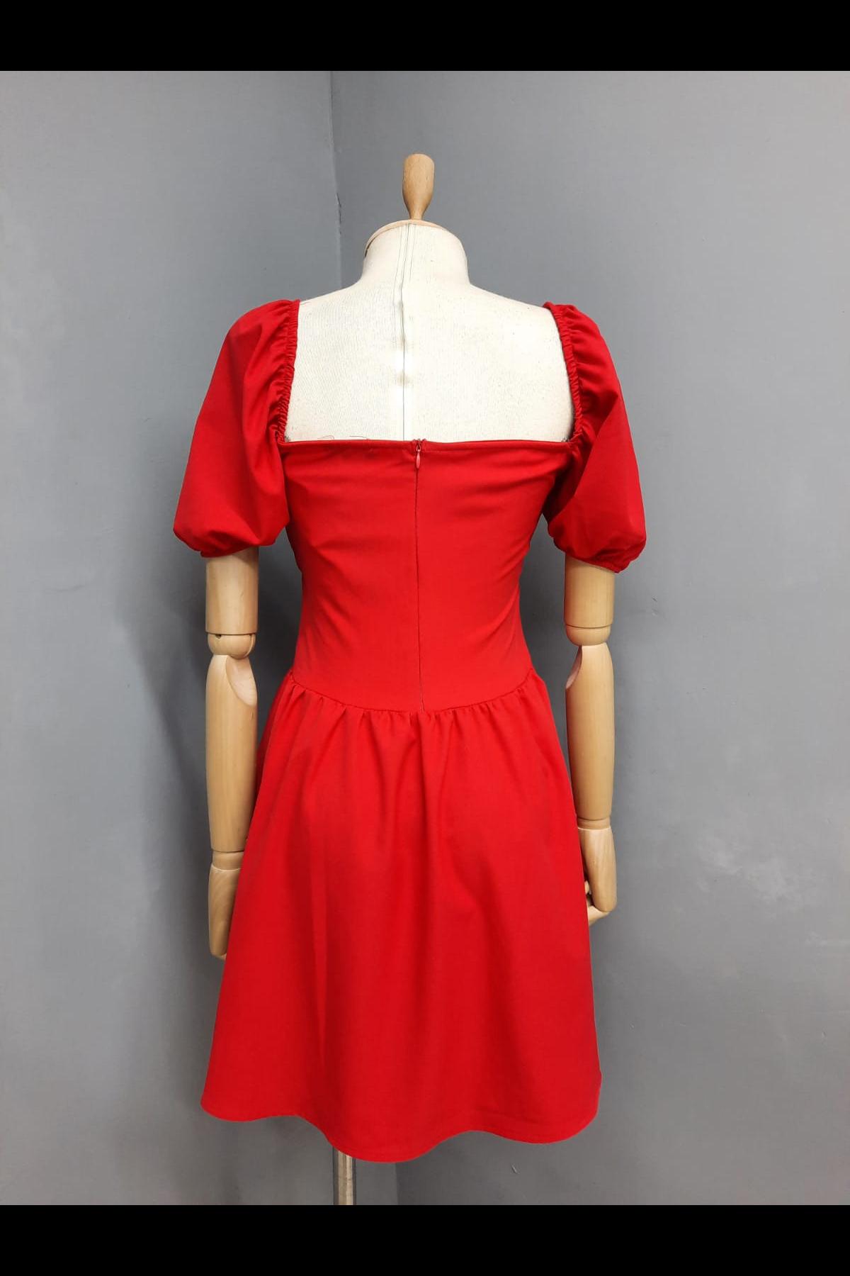 Büzgü Detaylı Kiloş Elbise - KIRMIZI