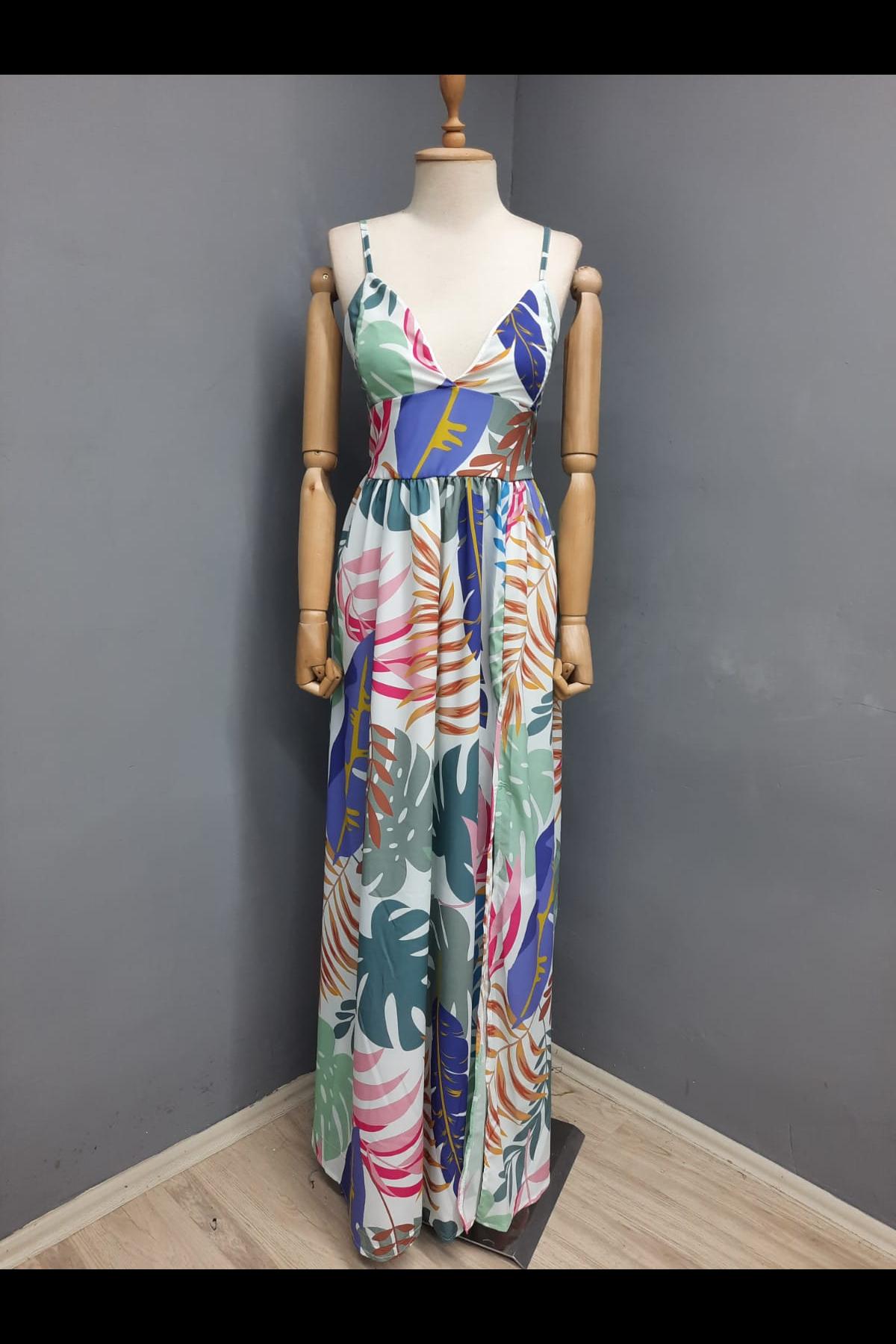 Yırtmaç Detaylı Desenli Elbise - MULTİ