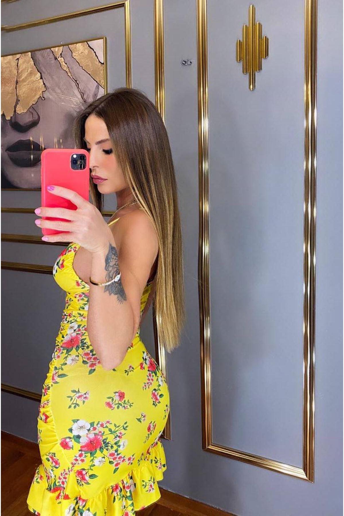 Çiçek Desen Fırfırlı Elbise - SARI