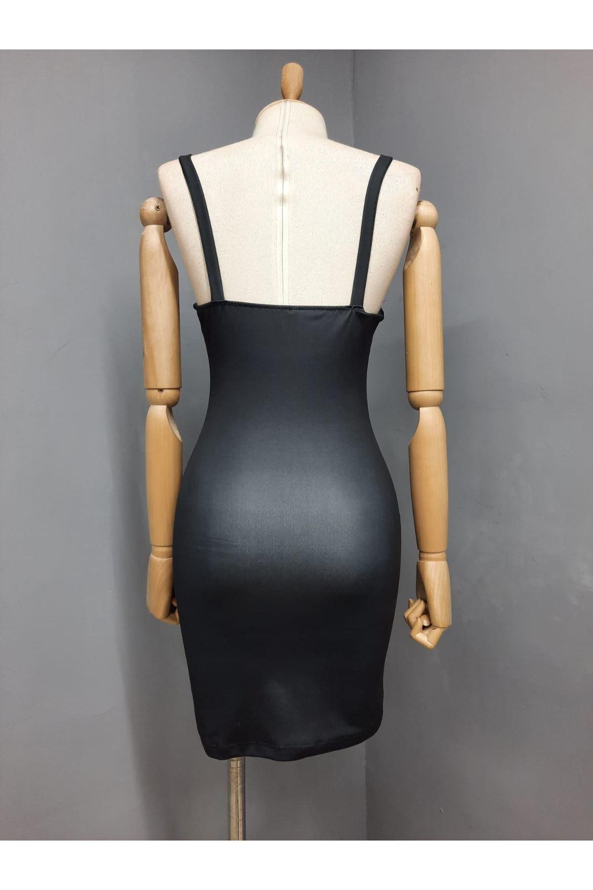 VS Model Askılı Elbise - SİYAH