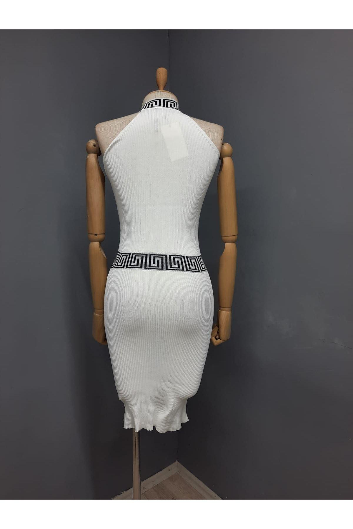 FF Model Merserize Kumaş Elbise - BEYAZ