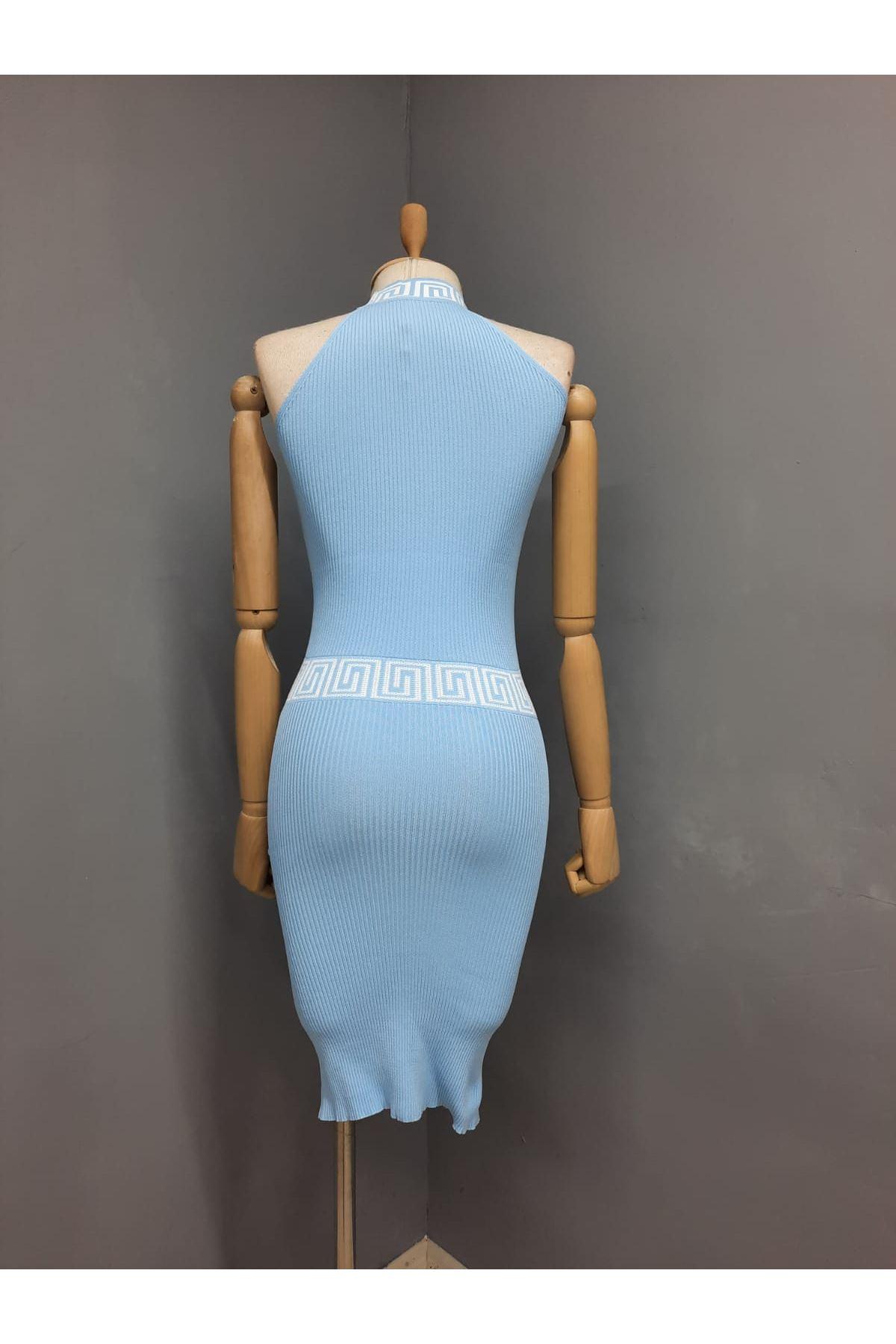 FF Model Merserize Kumaş Elbise - MAVİ